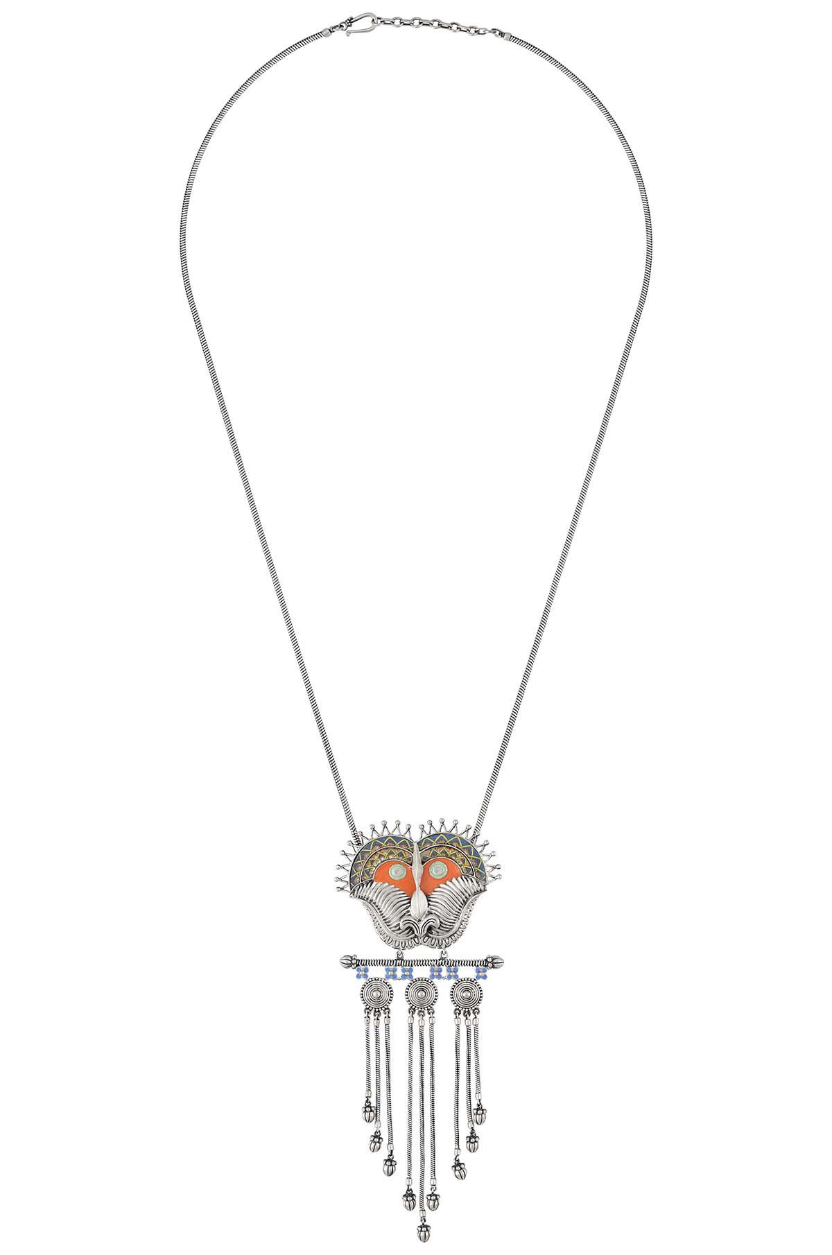 Kirti Mukha Coin Tassel Necklace