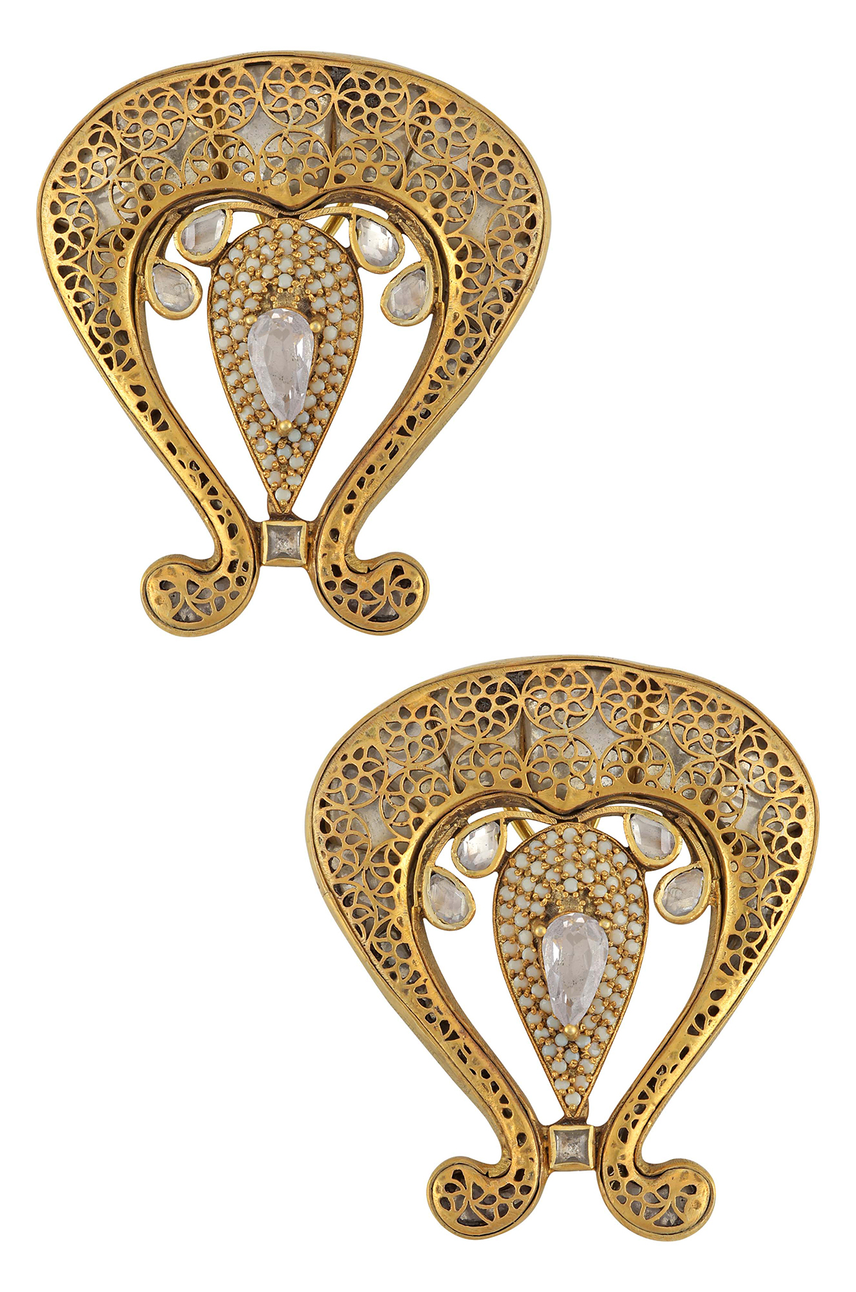 Silver Gold Plated Lotus Jaali White Glass Ear Studs