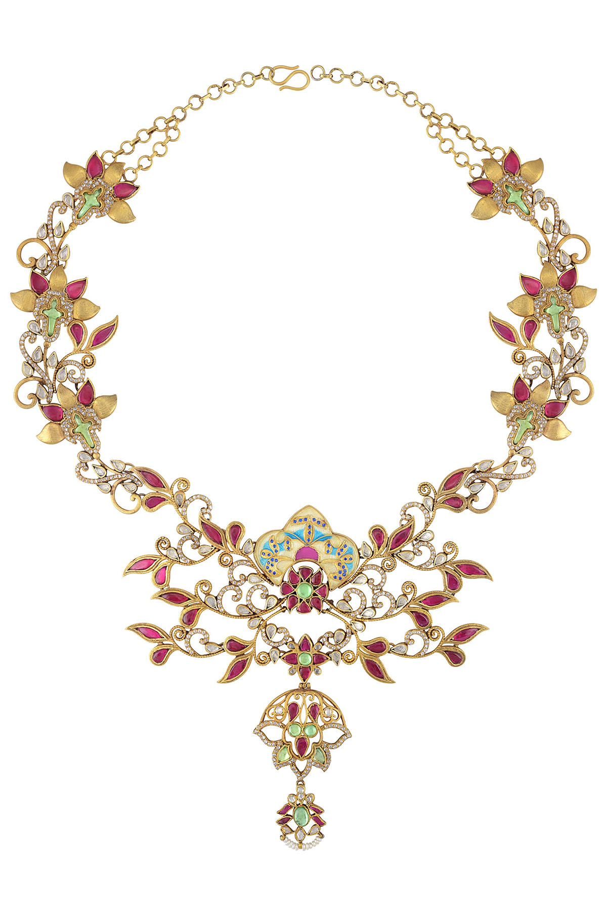 Silver Gold Plated Multi Glass Statement Floral Necklace