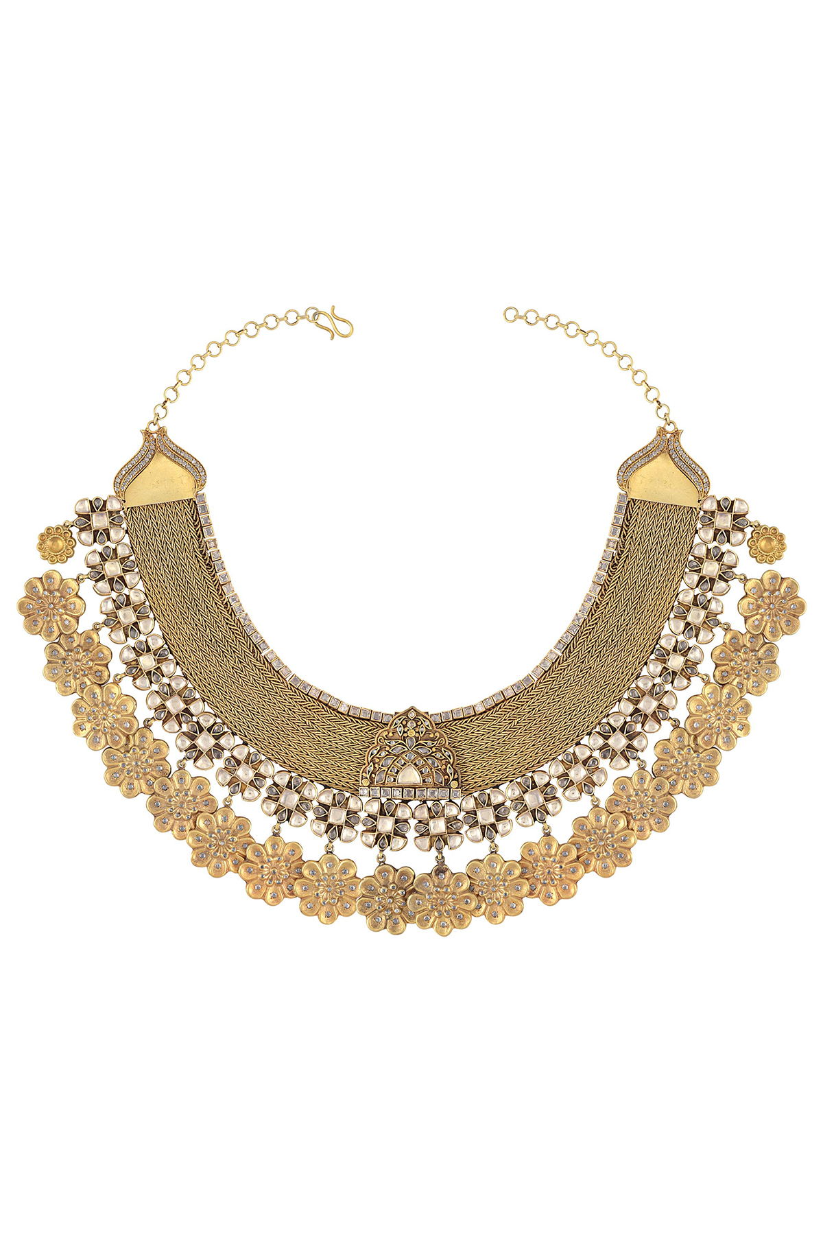 Silver Gold Plated Flower Drops Statement Glass Necklace