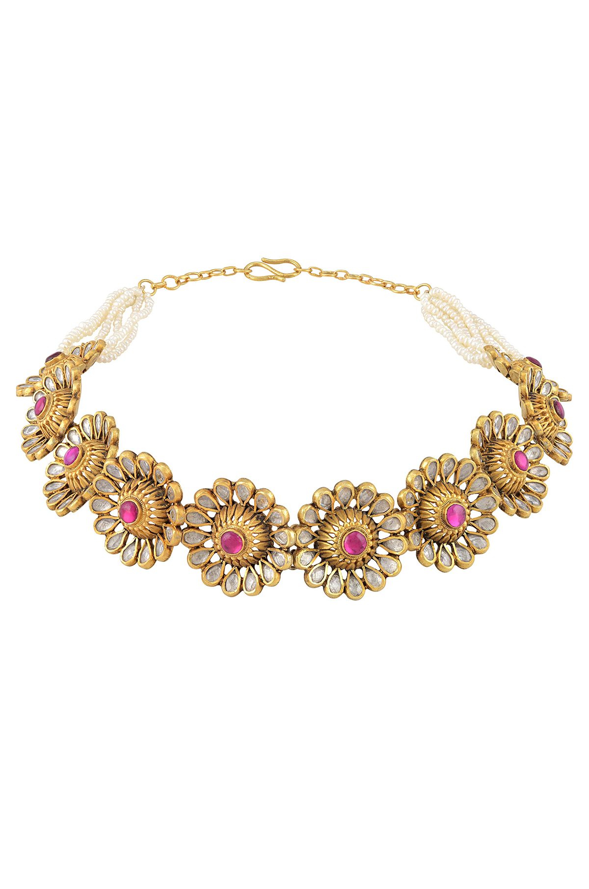 Silver Gold Plated Pink White Flower Pearl Necklace