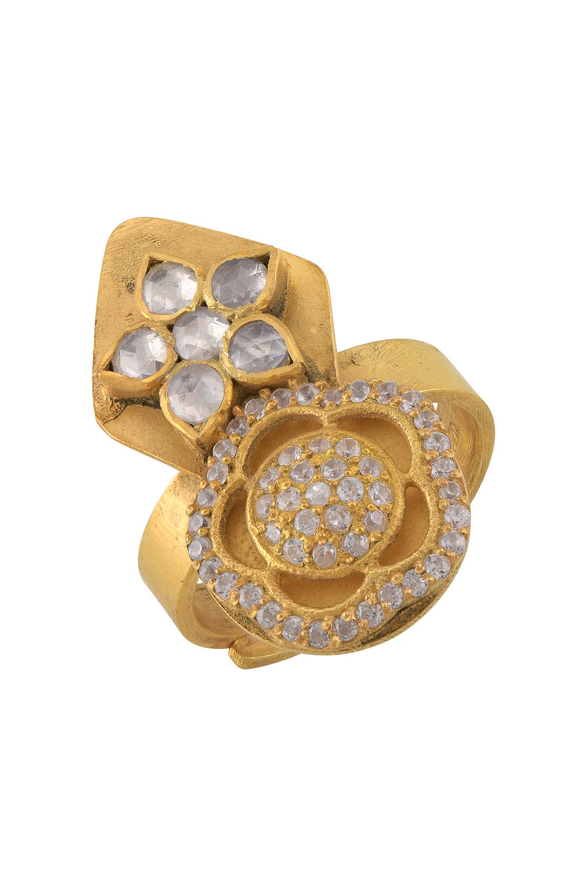 Silver Gold Plated White Glass Flower Ring