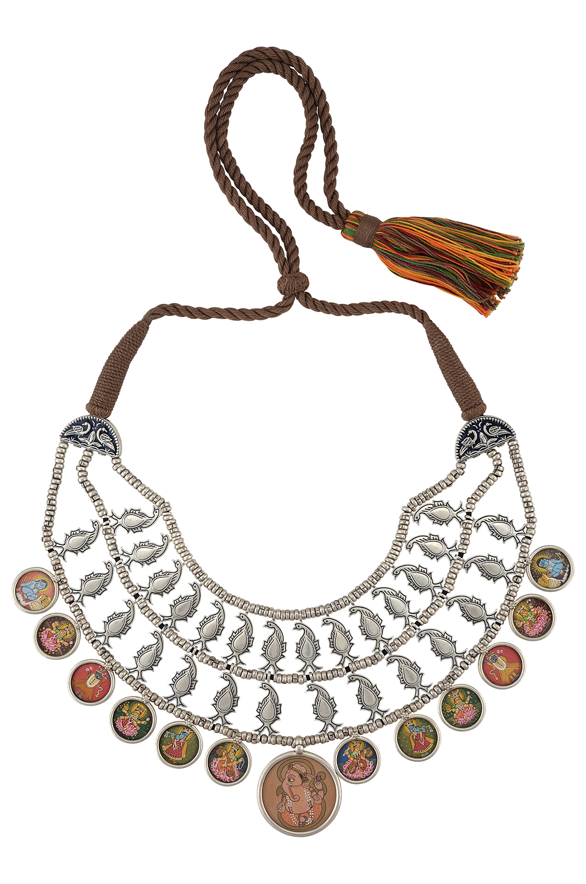 Silver Peacock Triple Strand Painting Thread Necklace