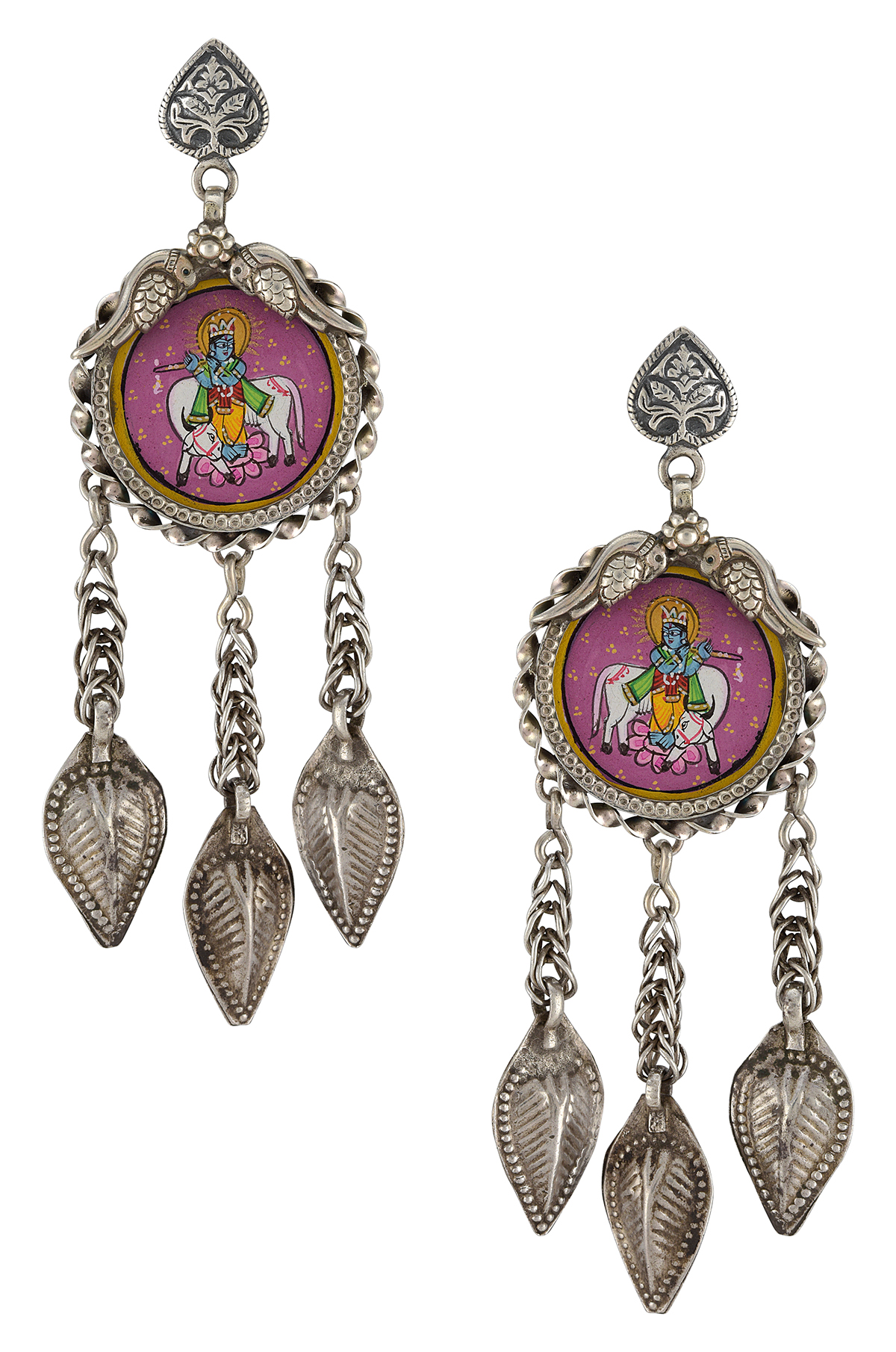 Silver Leaf Tassel Krishna Painting Earrings