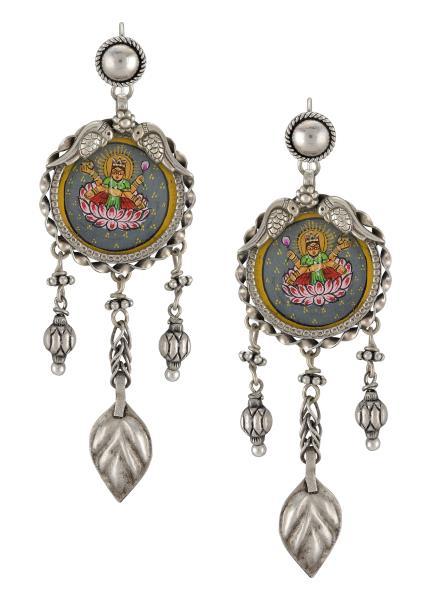 Silver Peacock Leafy Laxmi Painting Earrings