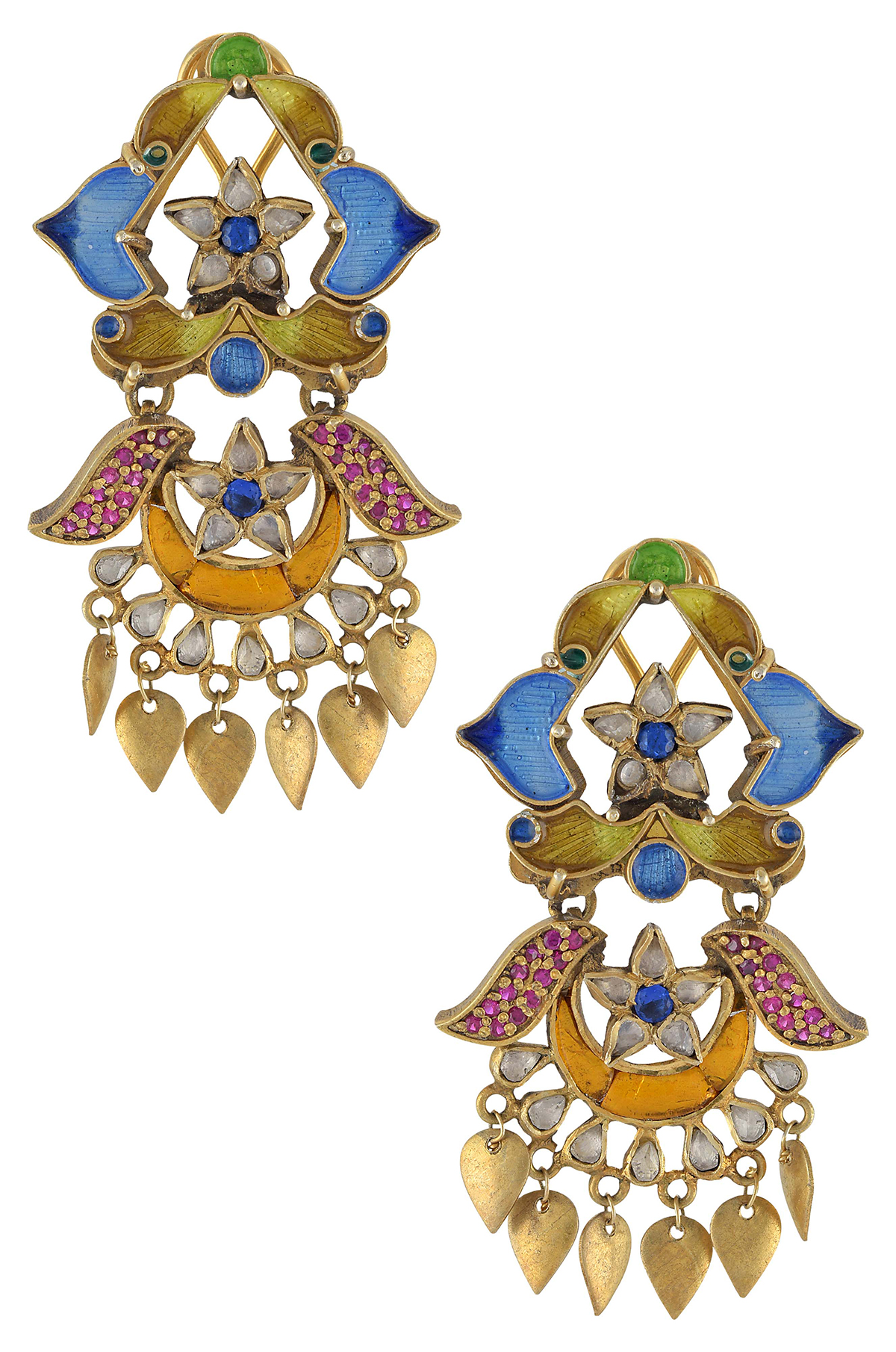 Silver Gold Plated Multi Color Enamel Floral Earrings