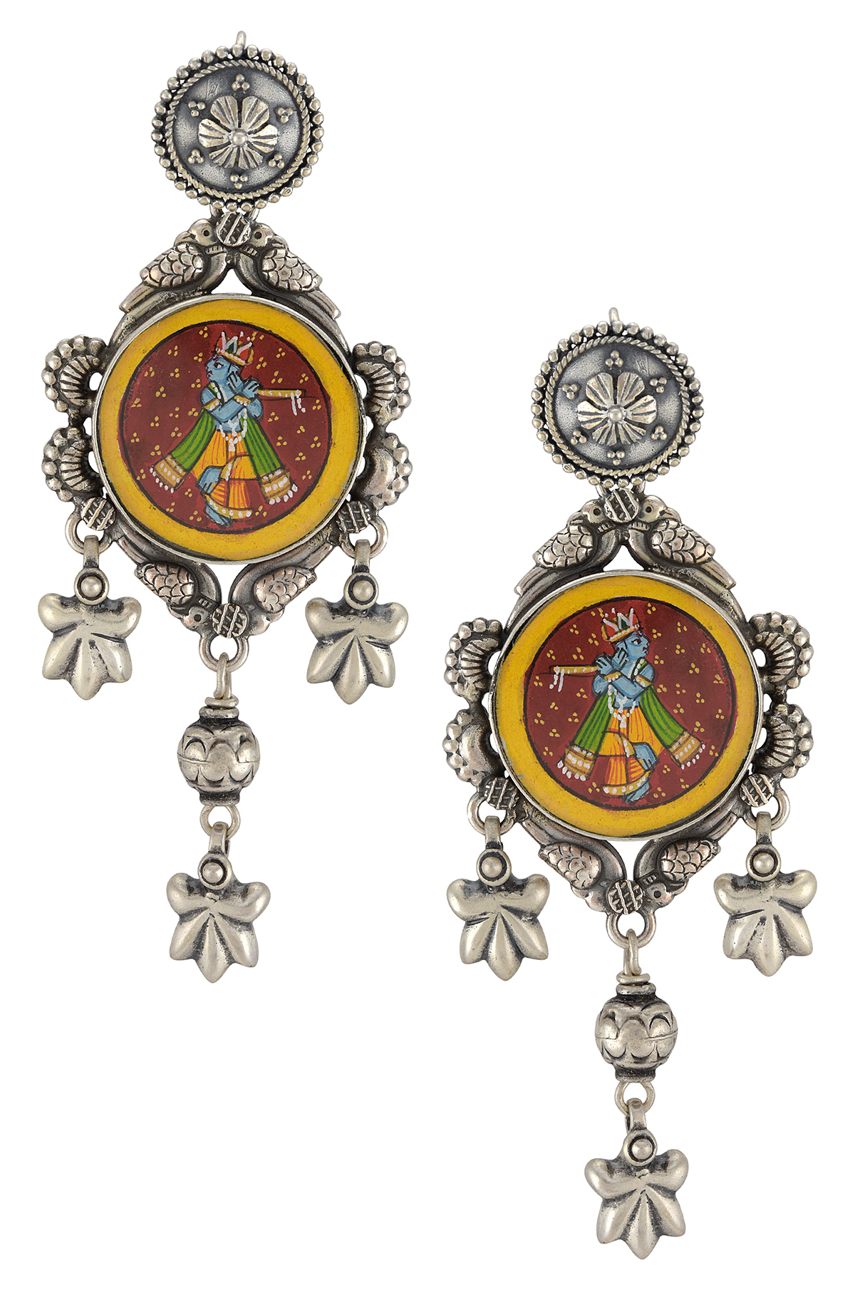 Silver Floral Krishna Painting Earrings