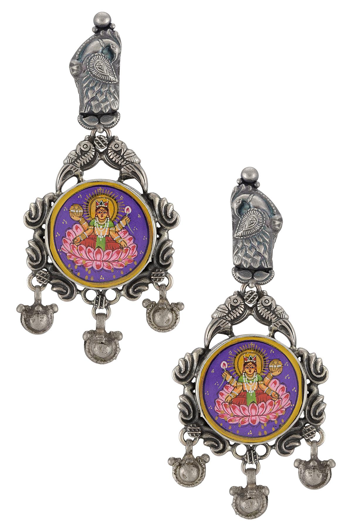 Silver Peacock Floral Laxmi Painting Earrings