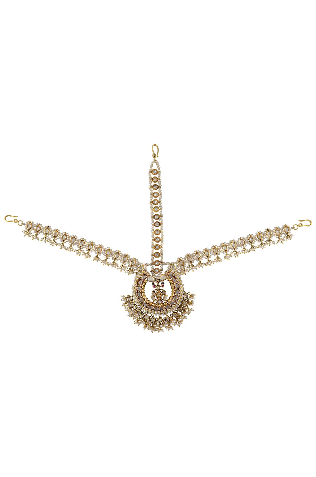 Silver Gold Plated Pearl Glass Charms Drop Mathapatti