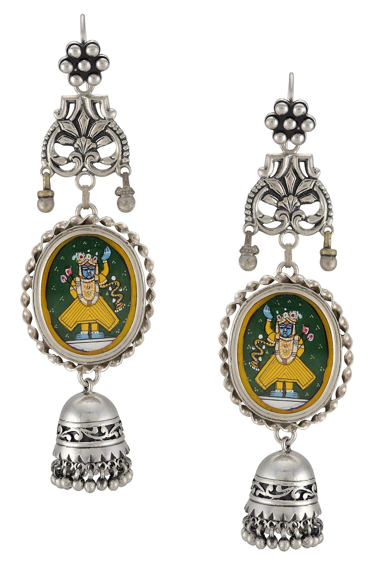 Silver Jhumki Drop Shrinathji Earrings