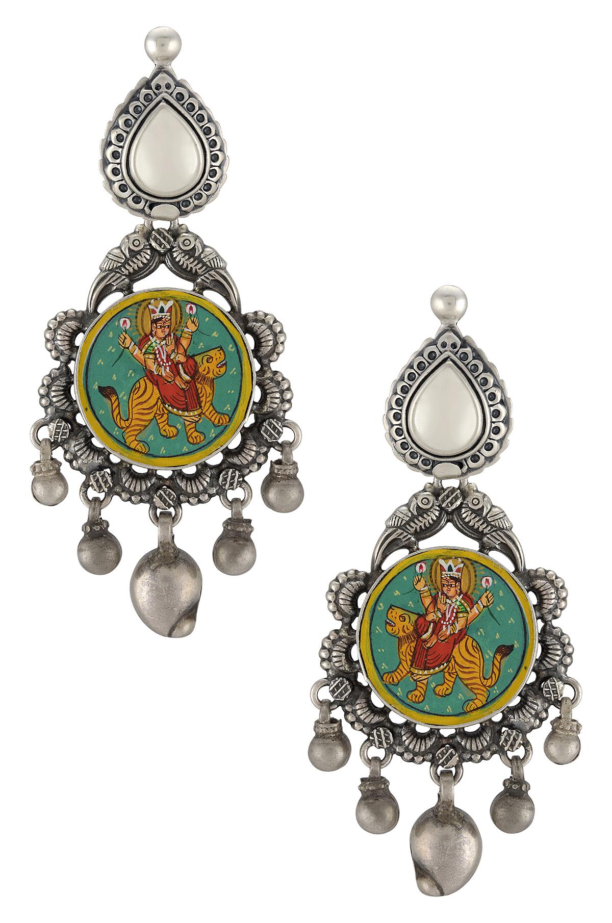 Silver Flower Mango Goddess Durga Painting Earrings
