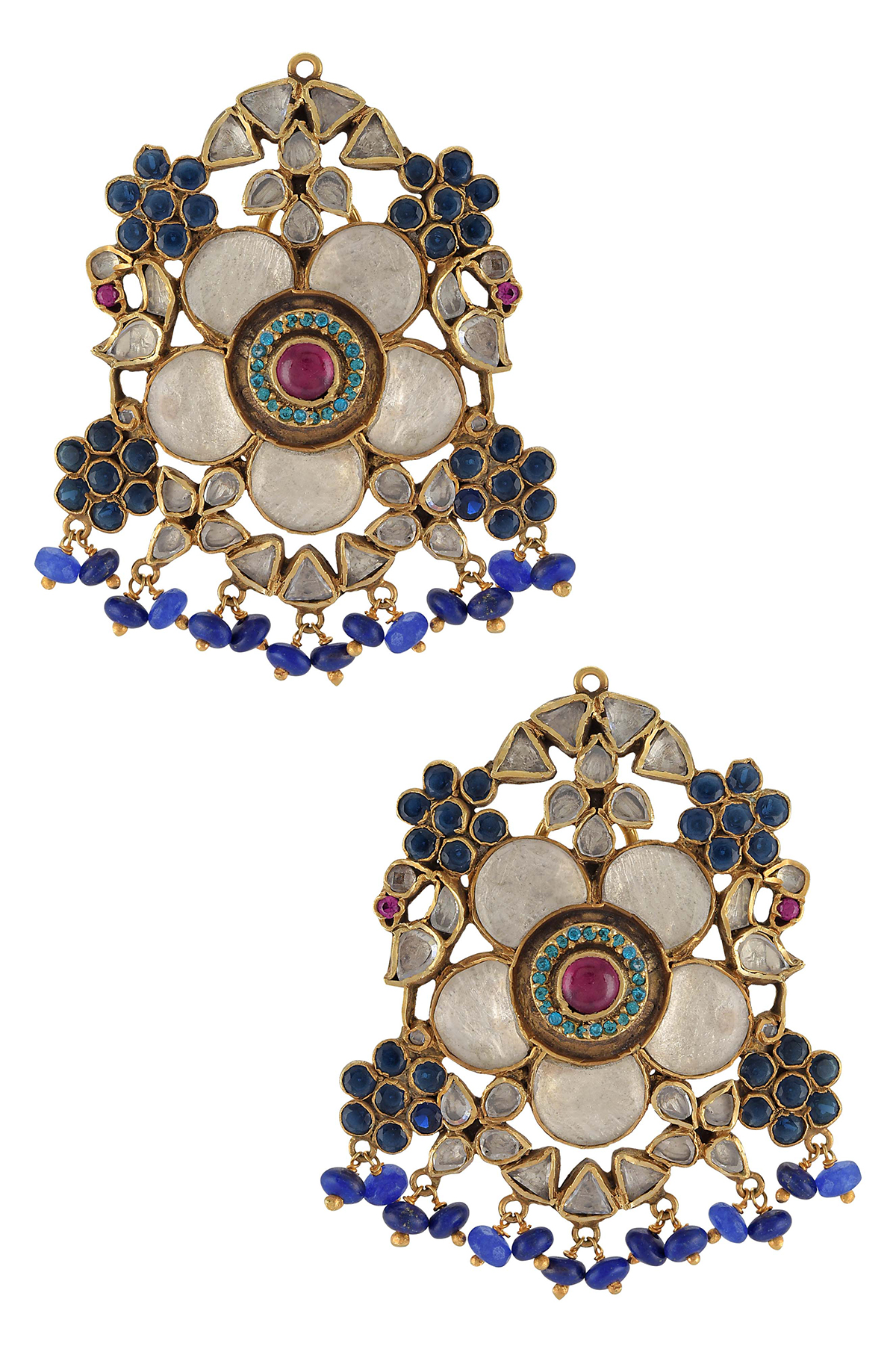 Silver Gold Plated Flower Peacock Glass Lapis Drop Ear Studs
