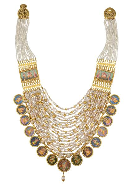 Silver Gold Plated Multi Strand Pearl Painting Necklace