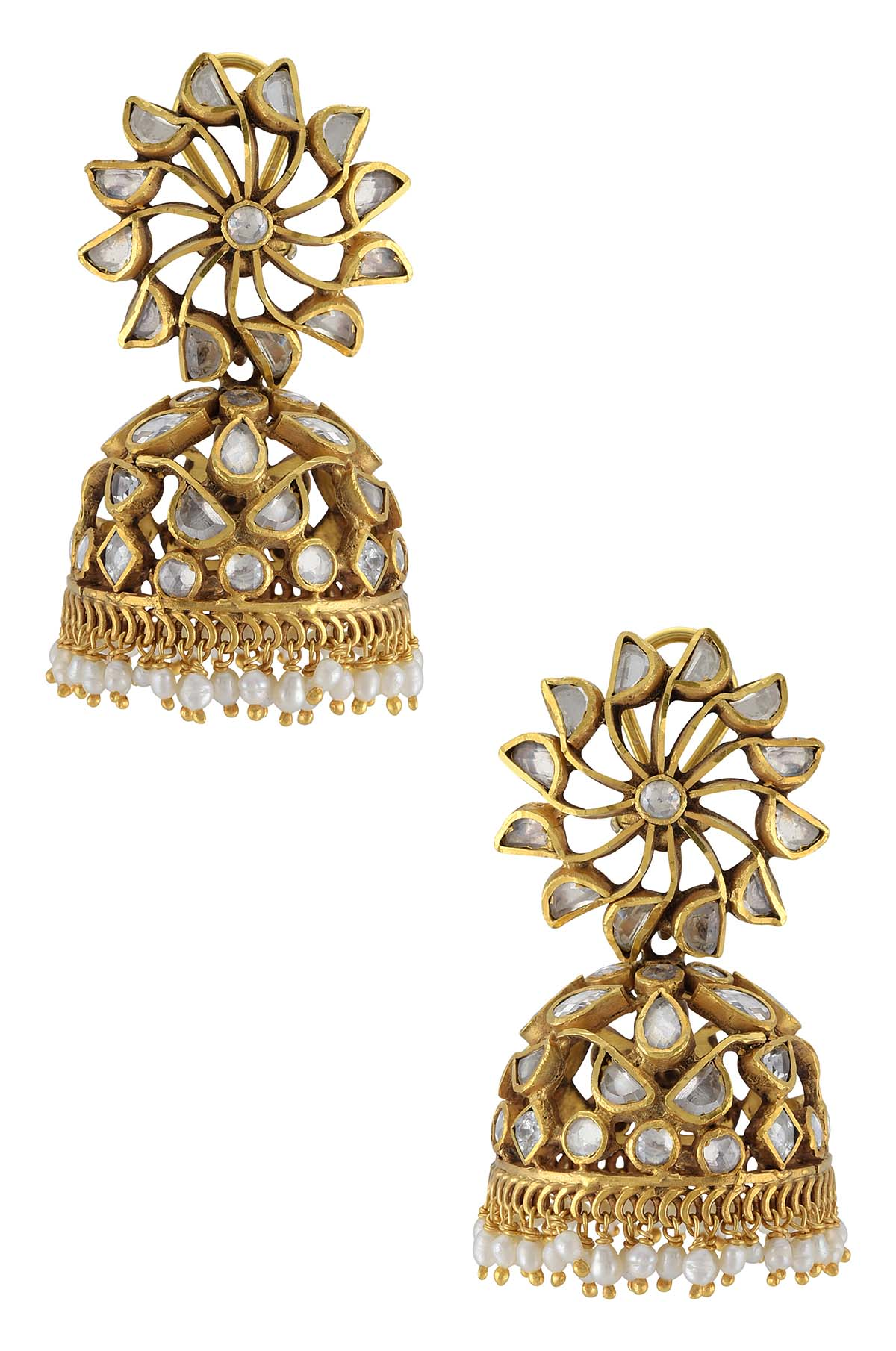 Silver Gold Plated White Flower Pearl Drop Jhumka Earrings