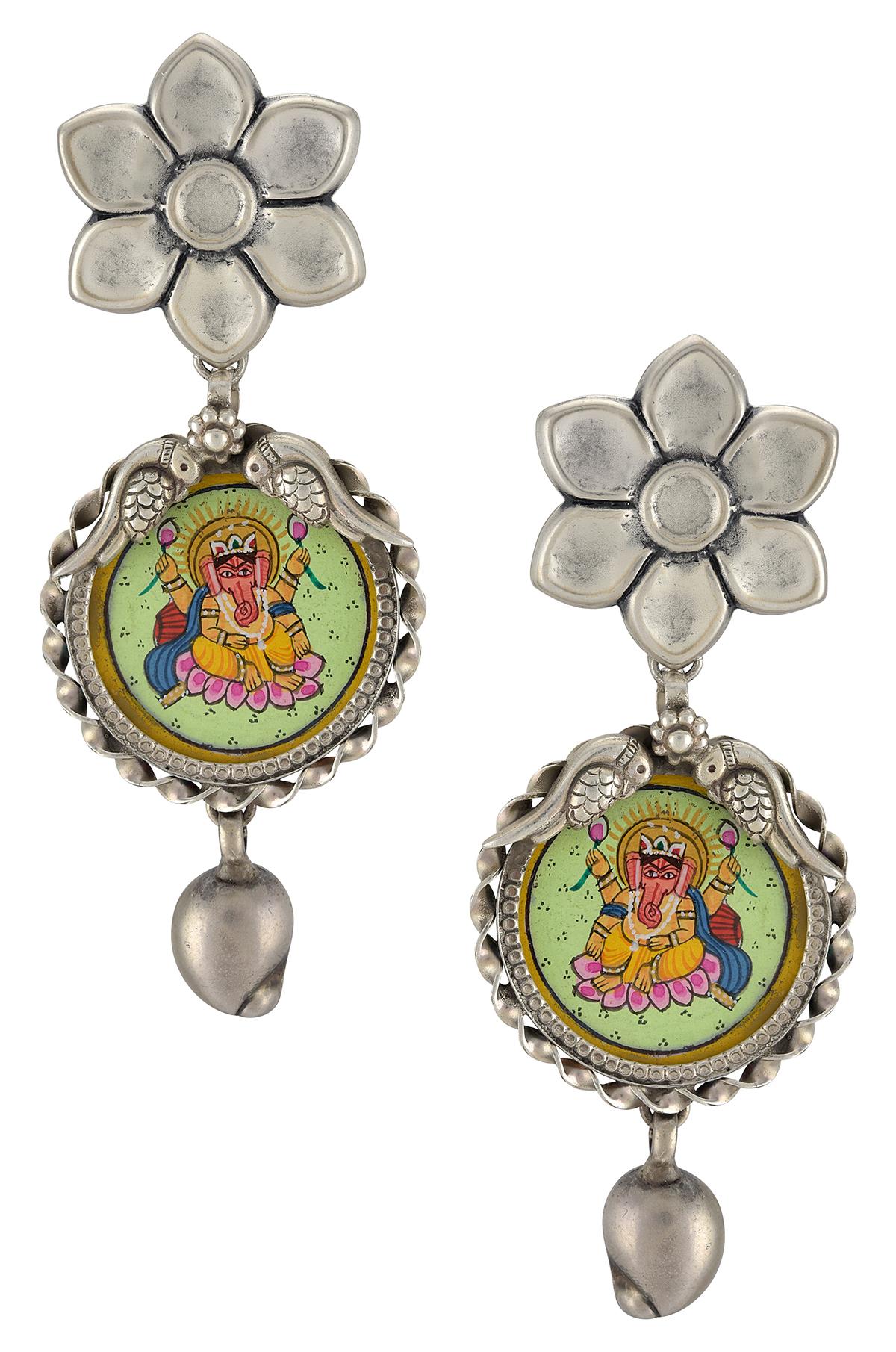 Silver Flower Mango Ganesha Painting Earrings