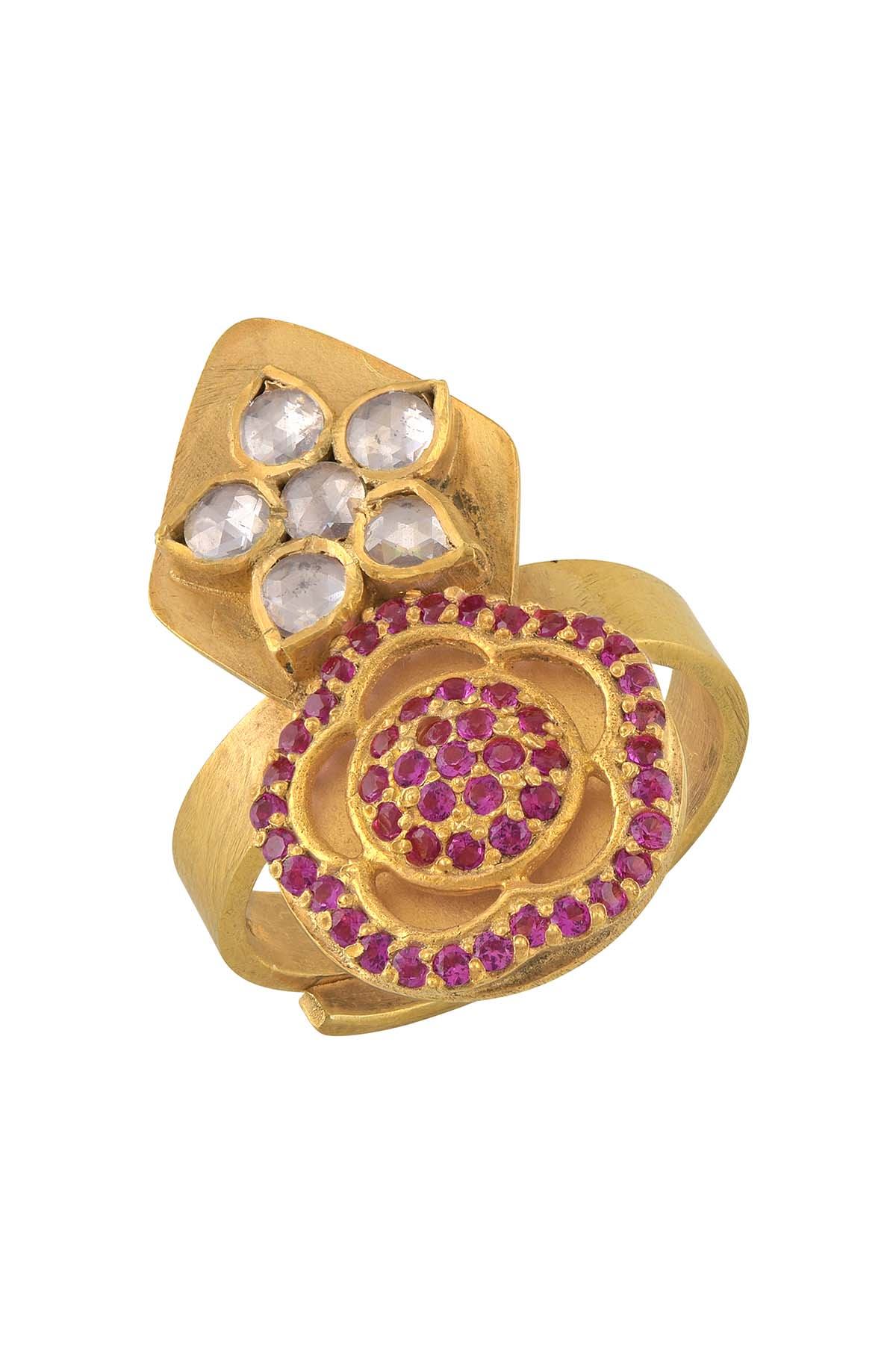 Silver Gold Plated White Pink Glass Flower Ring