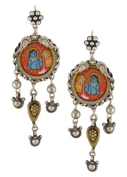 Silver Bead Drop Bal Gopal Painting Earrings