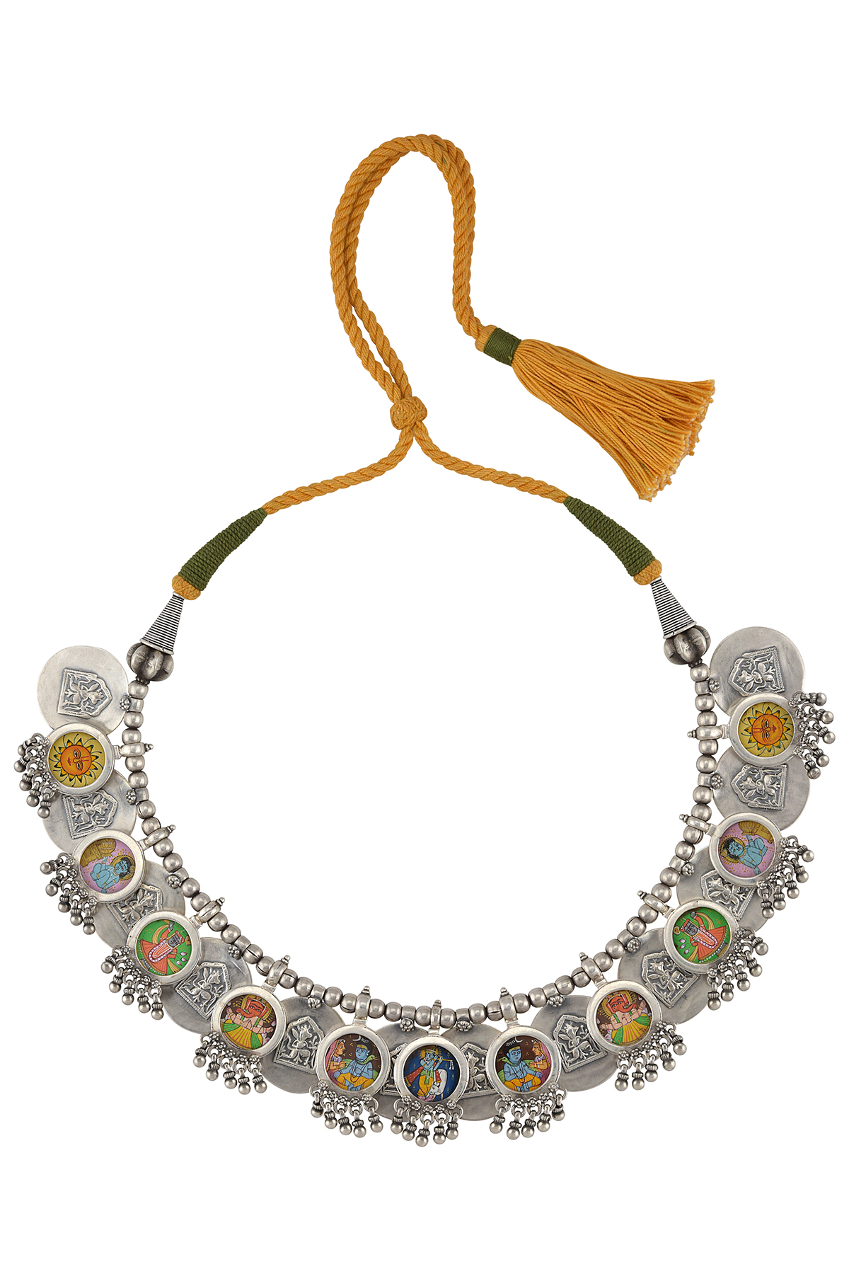 Silver Embossed Disc Ghungroo Painting Thread Necklace