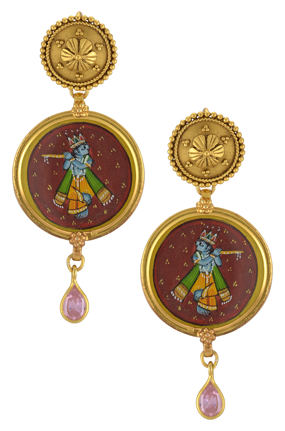 Silver Gold Plated Murari Pink Glass Earrings