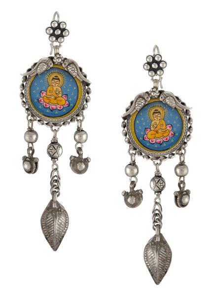 Silver Leafy Bead Drop Buddha Earrings