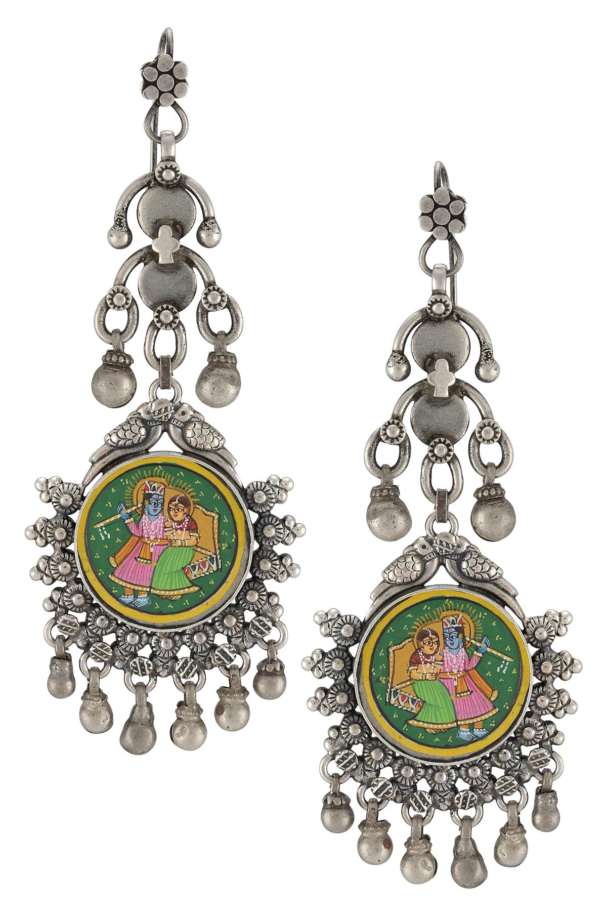 Silver Peacock Radha Krishna Painting Dangler Earrings