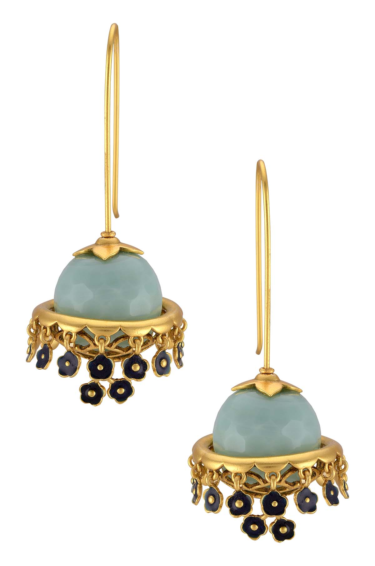 Gold Plated Aqua Ball Floral Charms Drop Hook Earrings