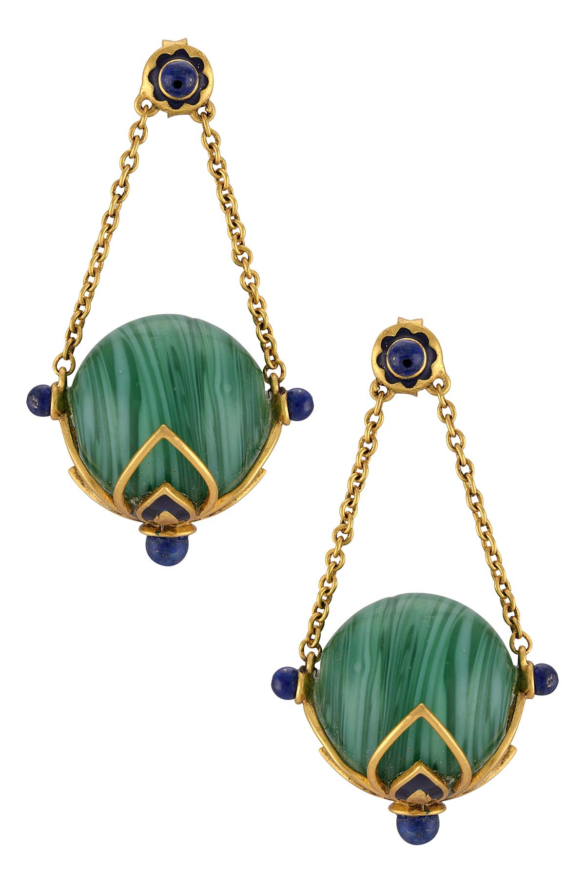 Gold Plated Green Ball Basket Earrings