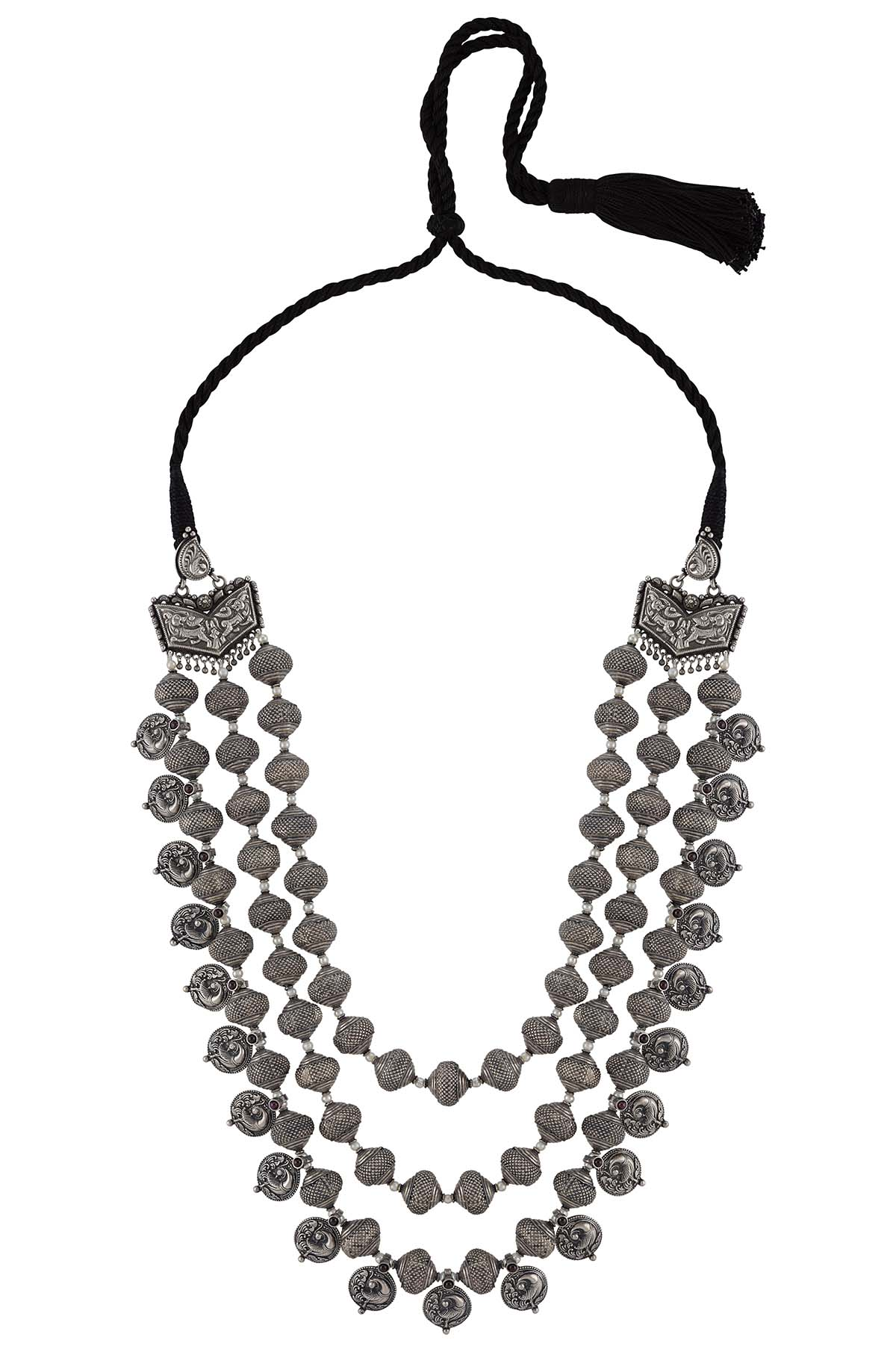 Silver Peacock Rawa Textured Bead Thread Necklace