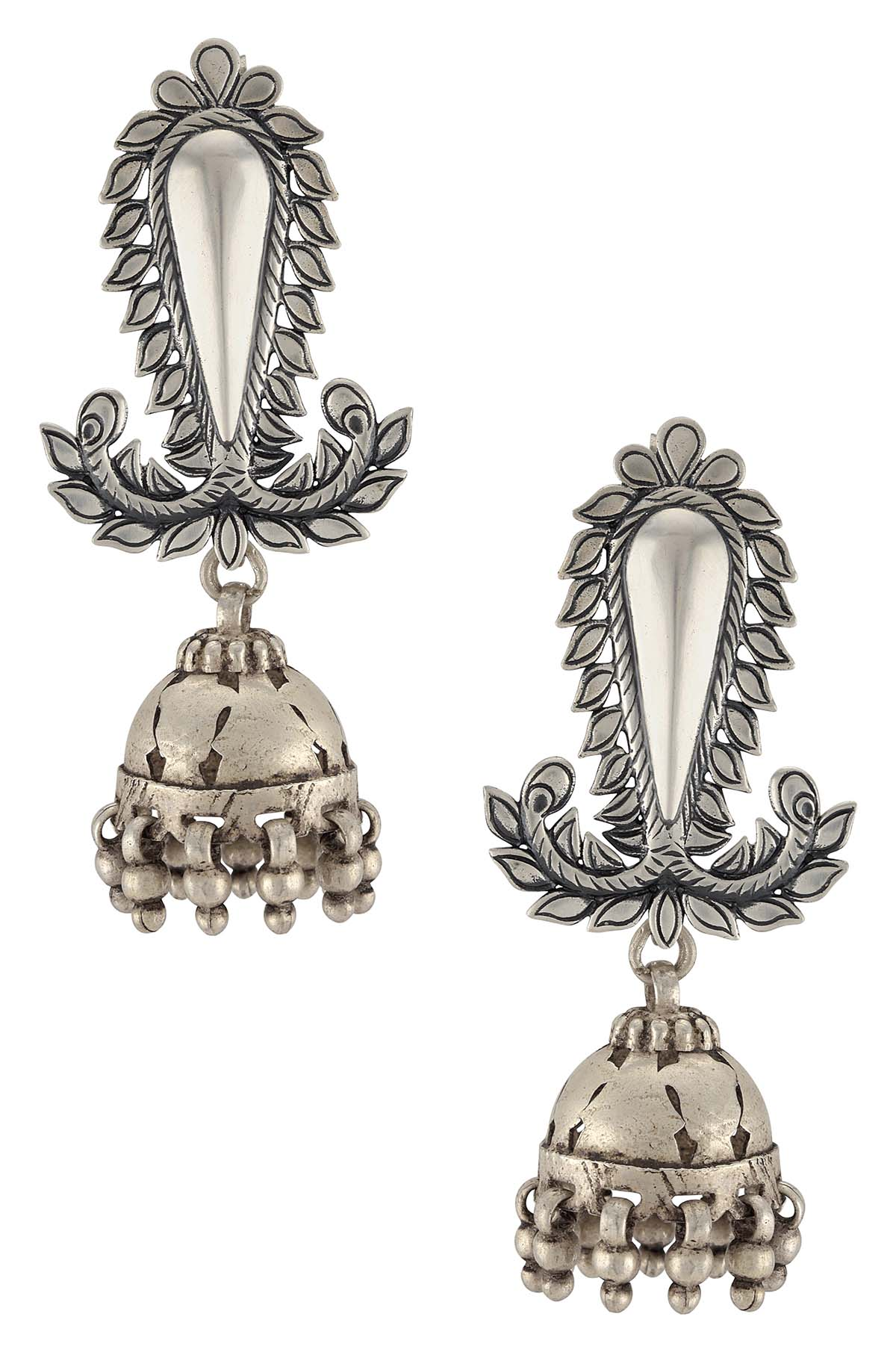 Silver Oxidised Floral Ball Drop Jhumki Earrings