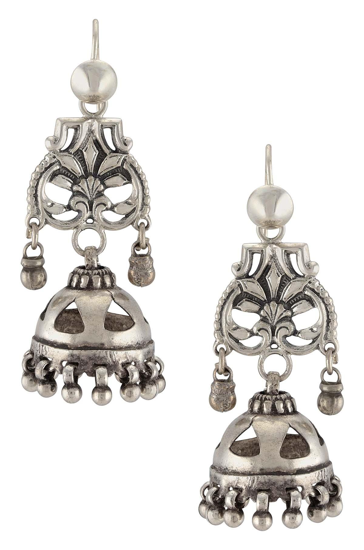 Silver Oxidised Floral Jaali Jhumki Earrings