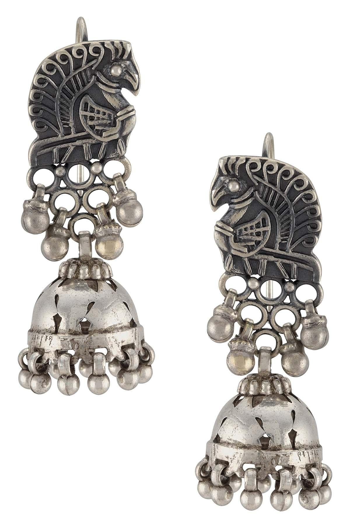 Silver Oxidised Mayura Motif Ball Drop Jhumki Earrings