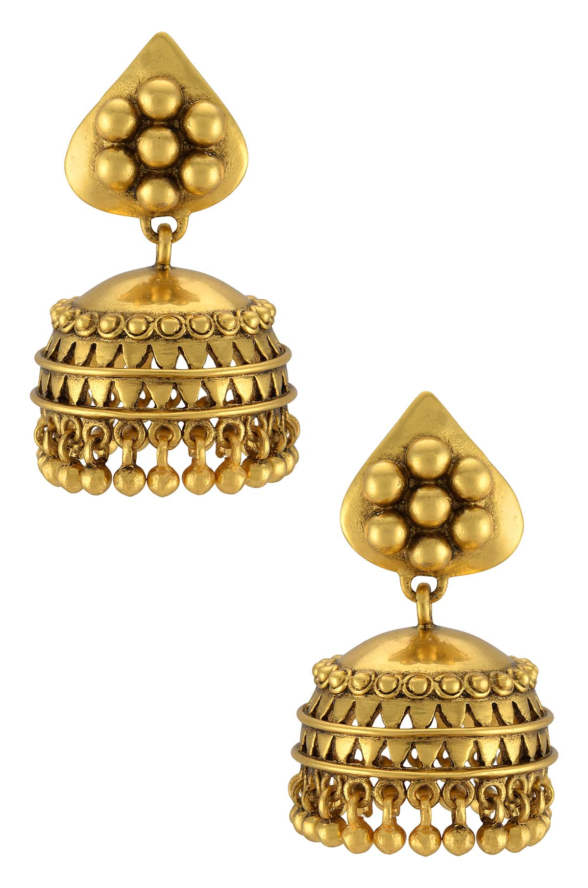 Silver Gold Plated Rawa Flower Jhumki Earrings