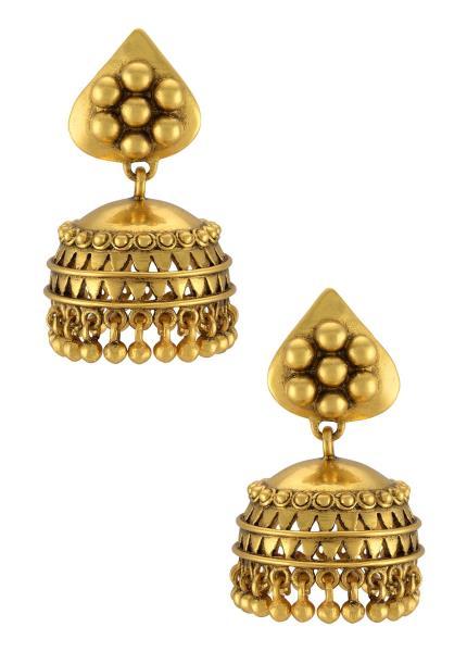 Silver Gold Plated Rawa Flower Jhumki Earrings