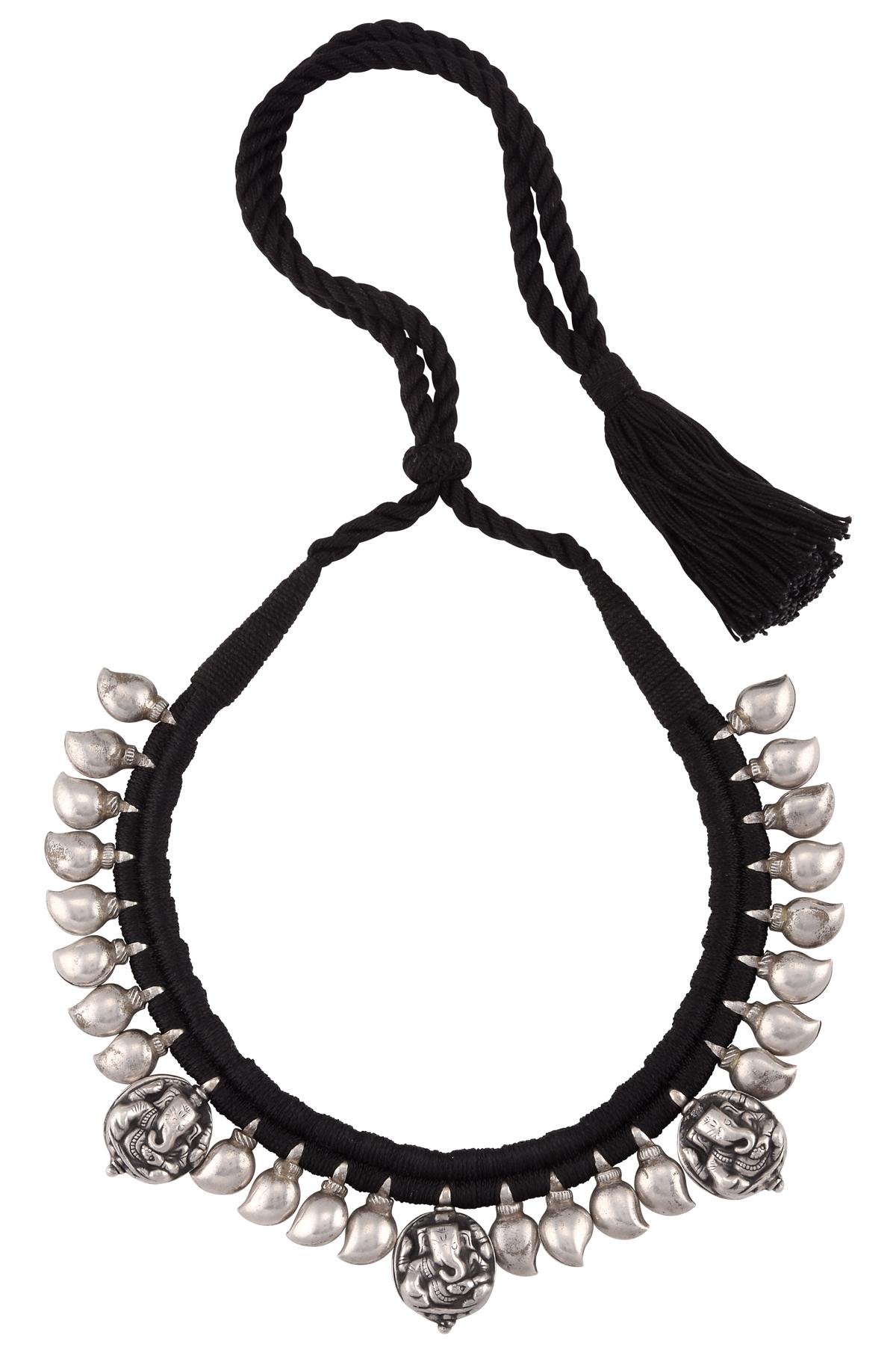 Silver Ganesha Mango Bead Thread Necklace