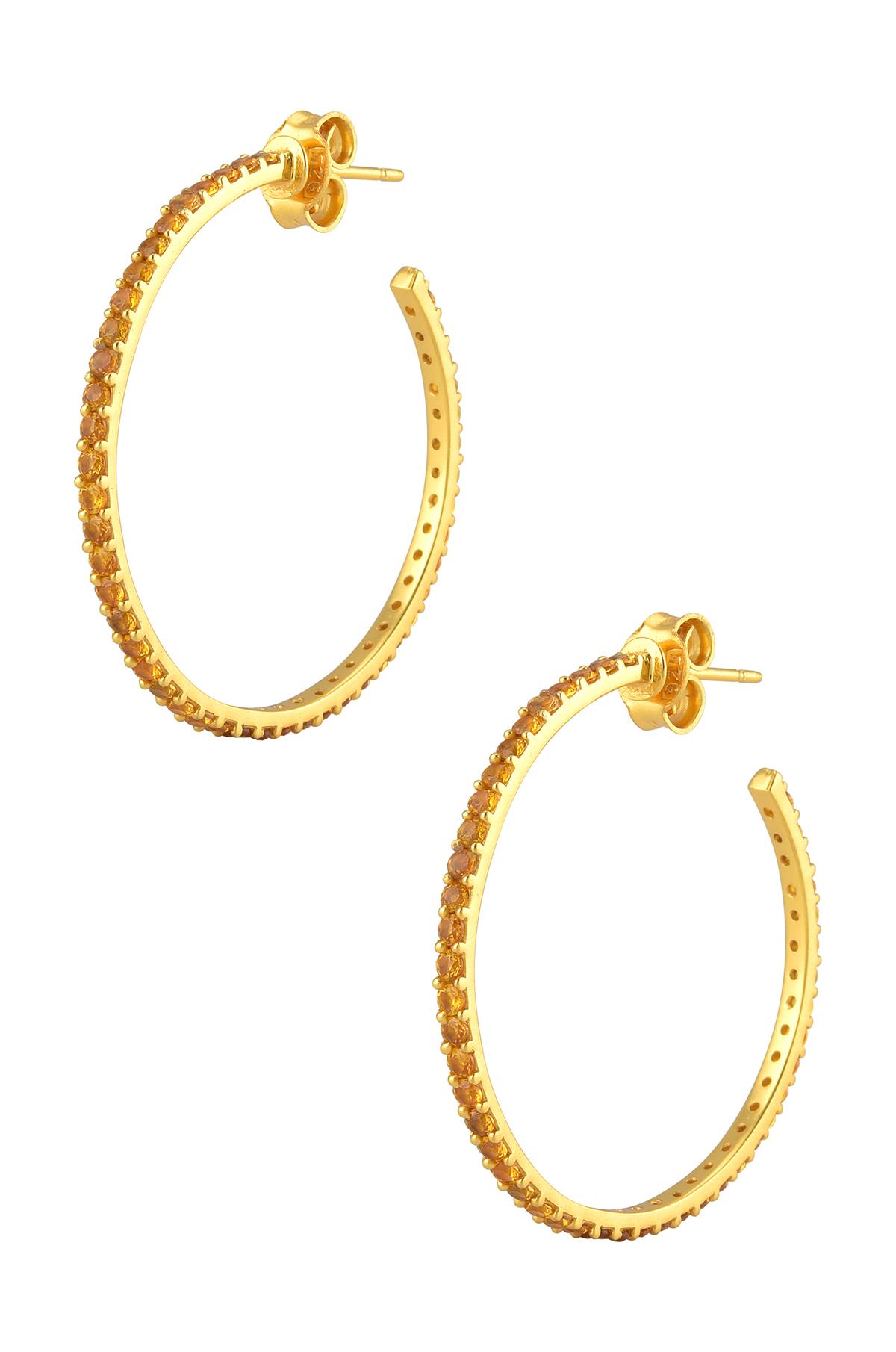 Silver Gold Plated Citrine Hoop Earrings