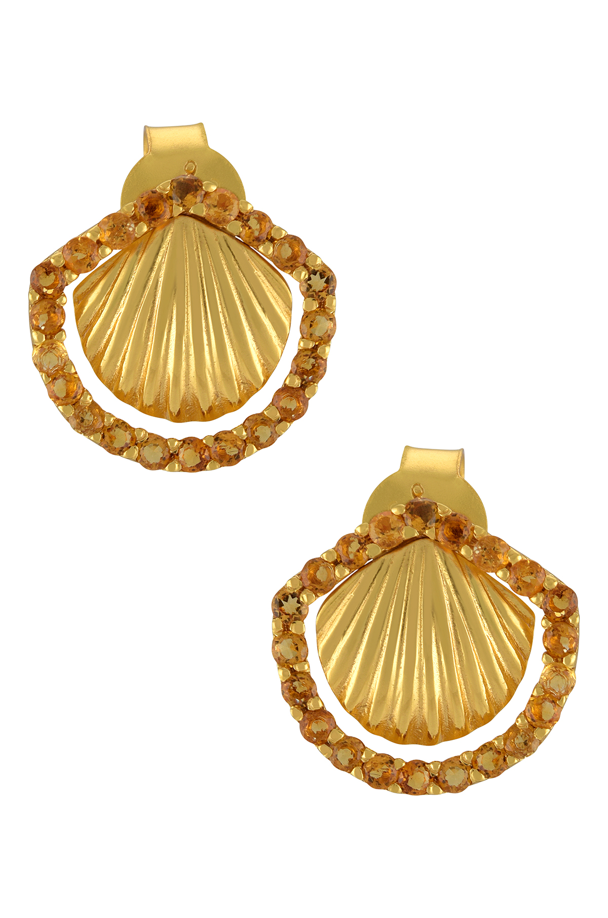 Silver Gold Plated Citrine Shell Ear Studs