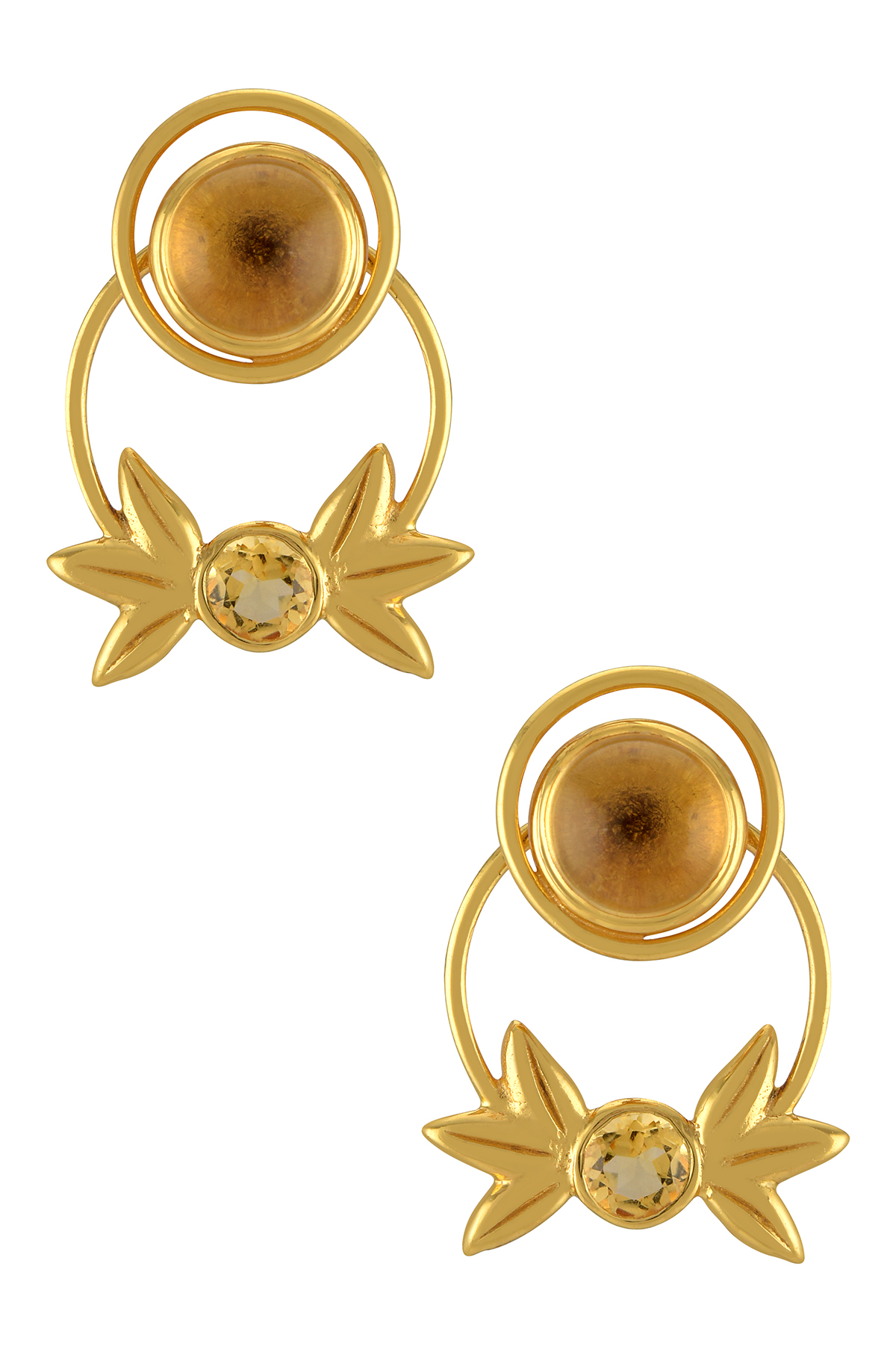 Silver Gold Plated Citrine Wreath Ear Studs