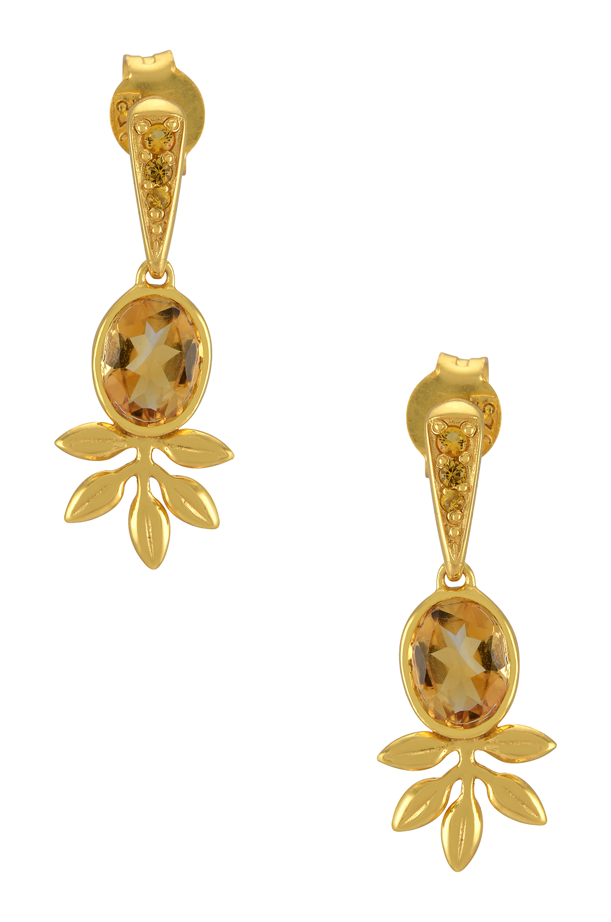 Silver Gold Plated Citrine Flower Drop Earrings