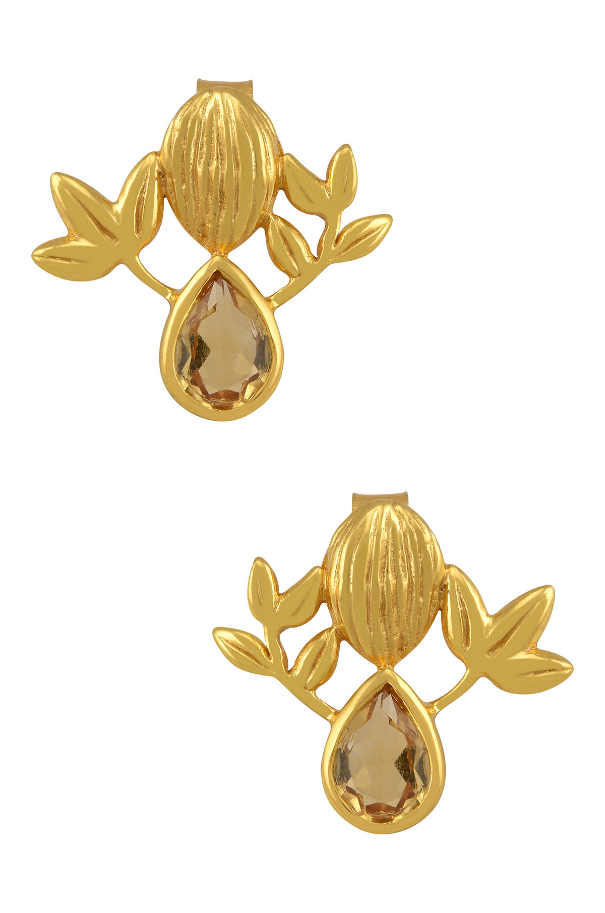 Silver Gold Plated Citrine Textured Floral Ear Studs