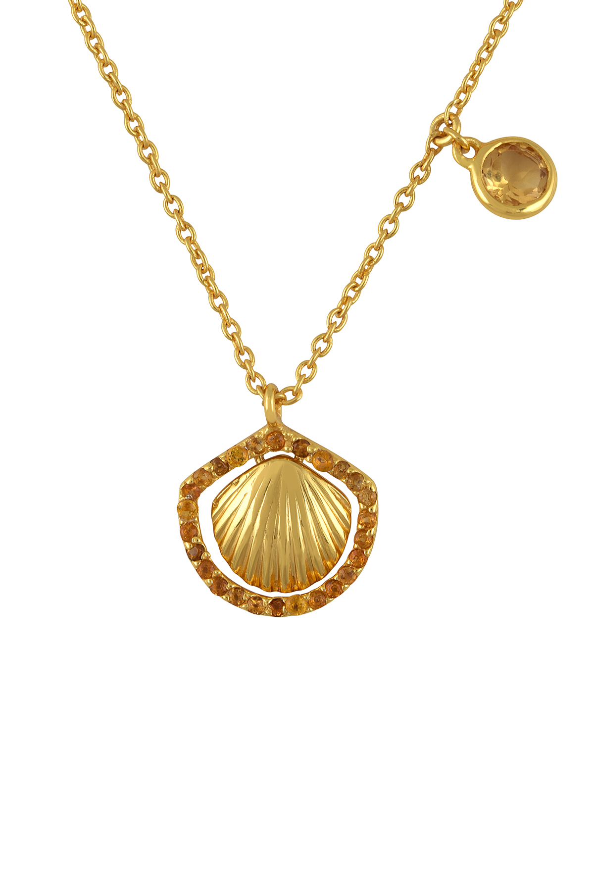 Silver Gold Plated Shell Motif Charm Drop Citrine Pendant
