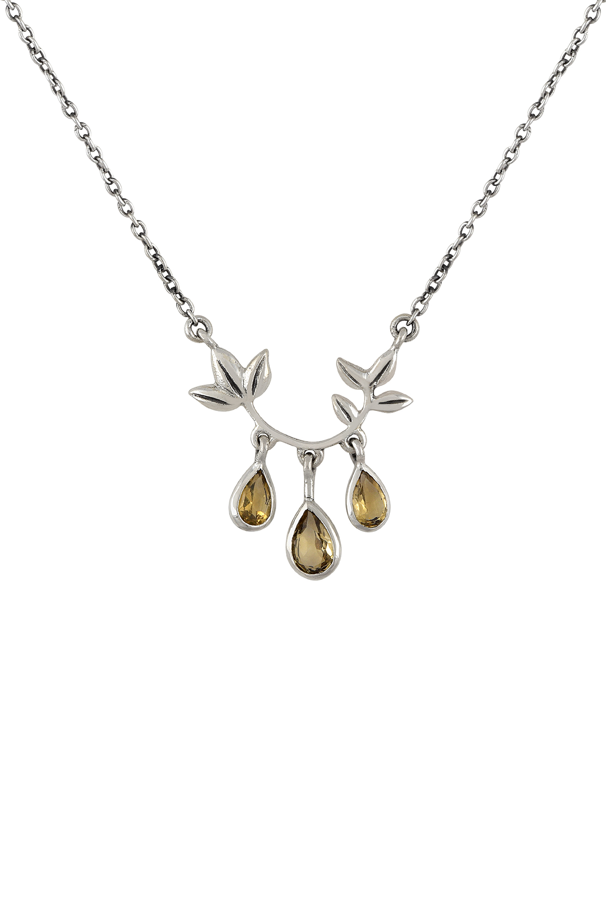 Silver Floral Citrine Drops Pendant