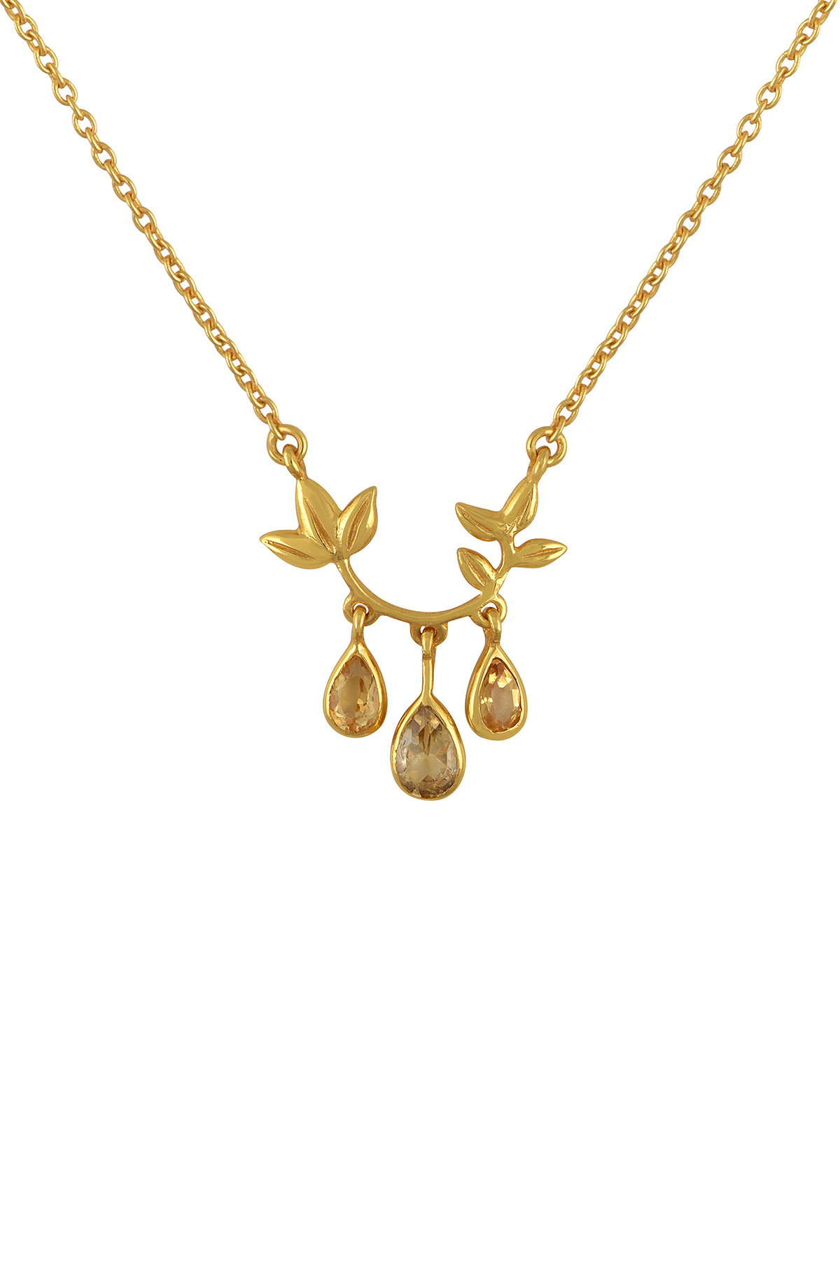 Silver Gold Plated Floral Citrine Drops Pendant