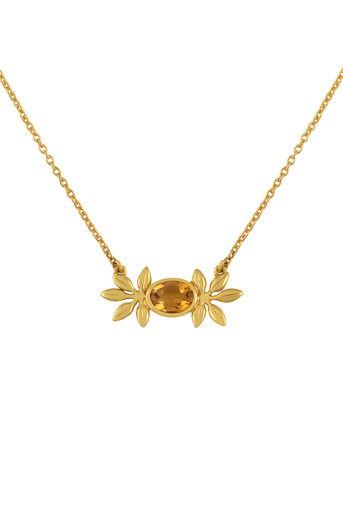Silver Gold Plated Citrine Flower Pendant