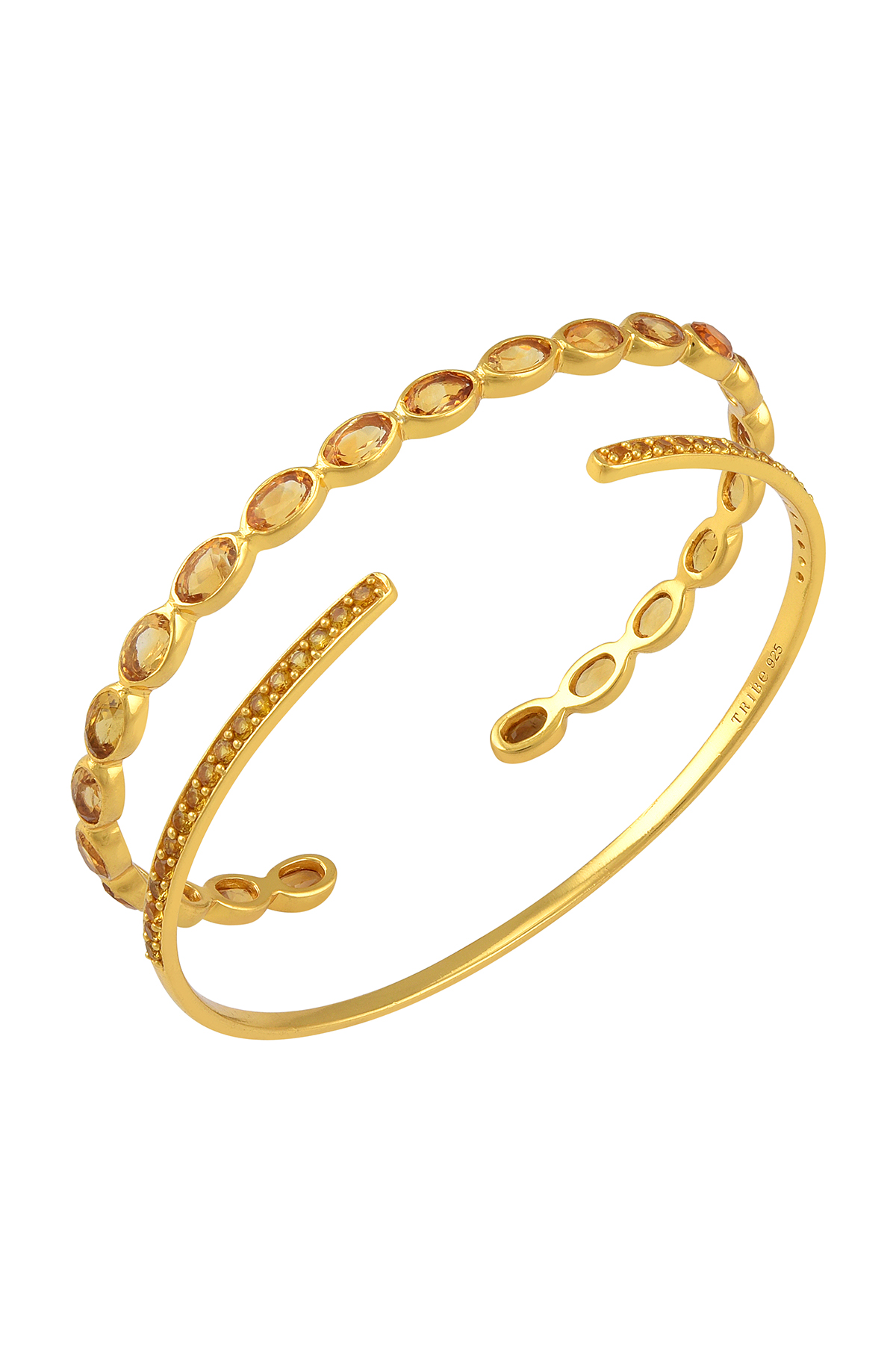 Silver Gold Plated Citrine Bangles (Set of 2)