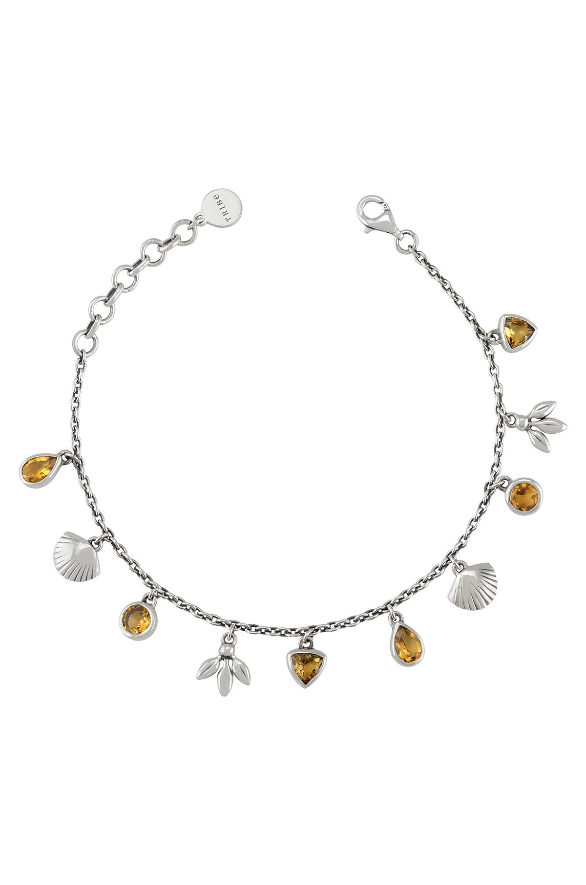 Silver Charms Drop Citrine Bracelet