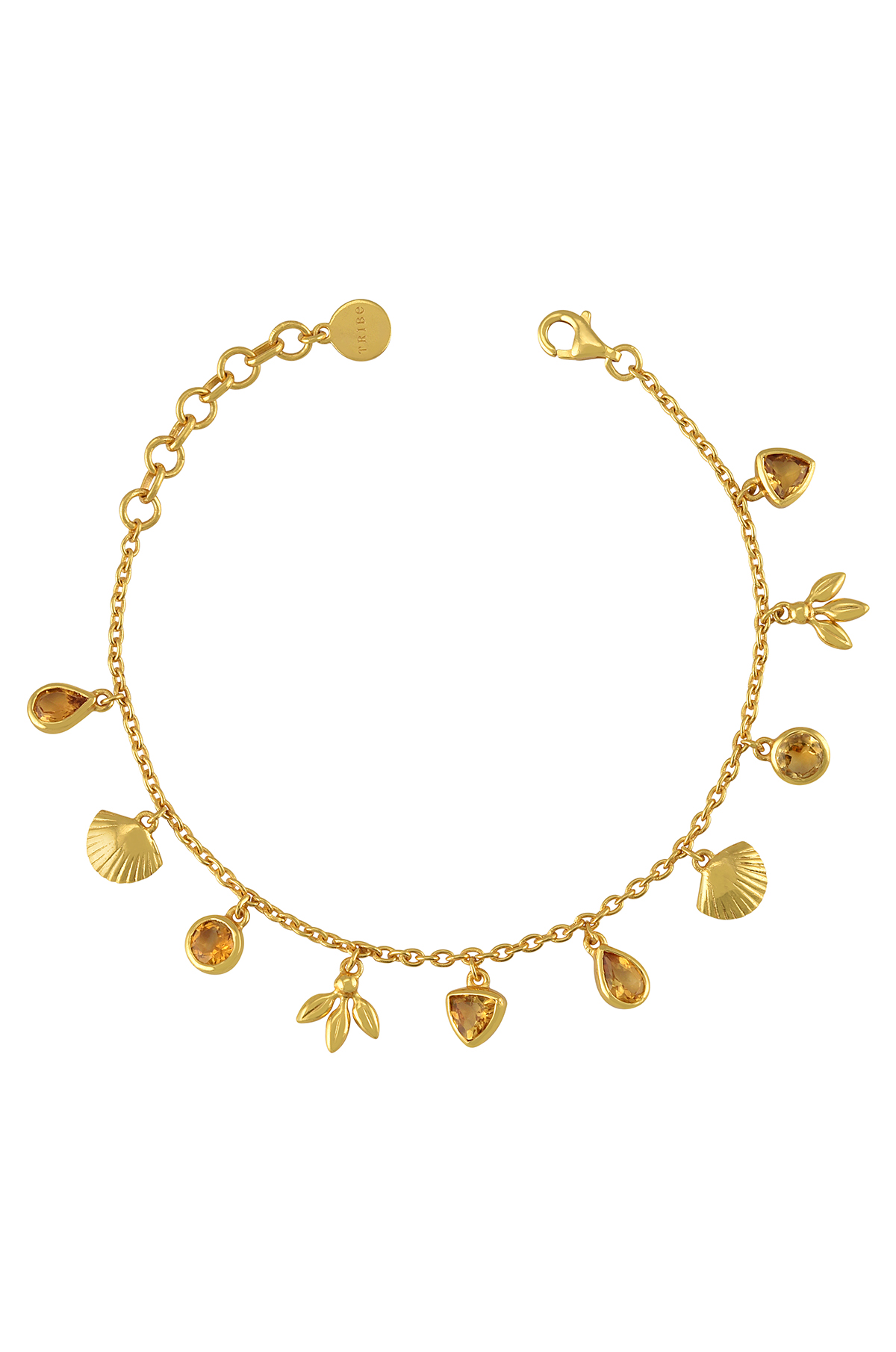 Silver Gold Plated Charms Drop Citrine Bracelet