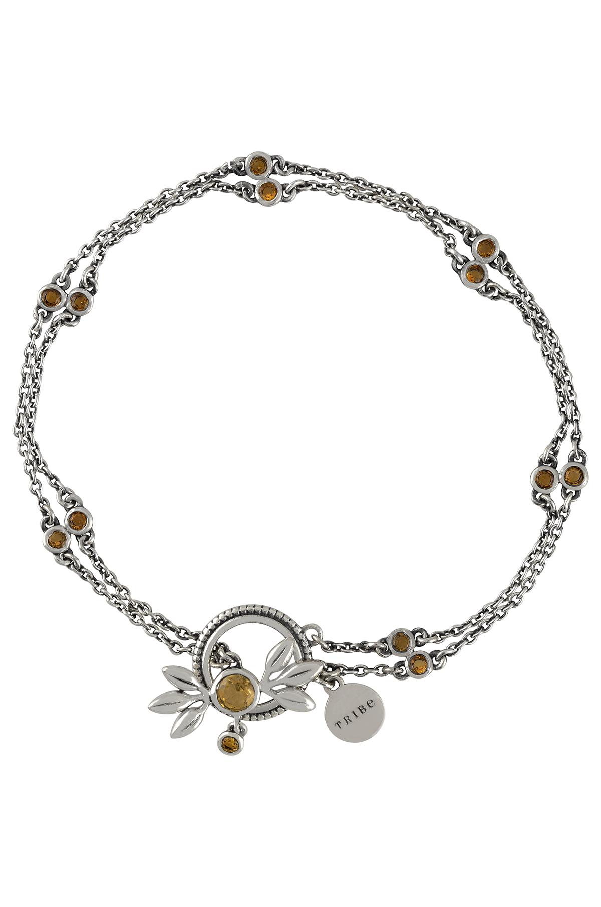 Silver Citrine Flower Chain Bracelet