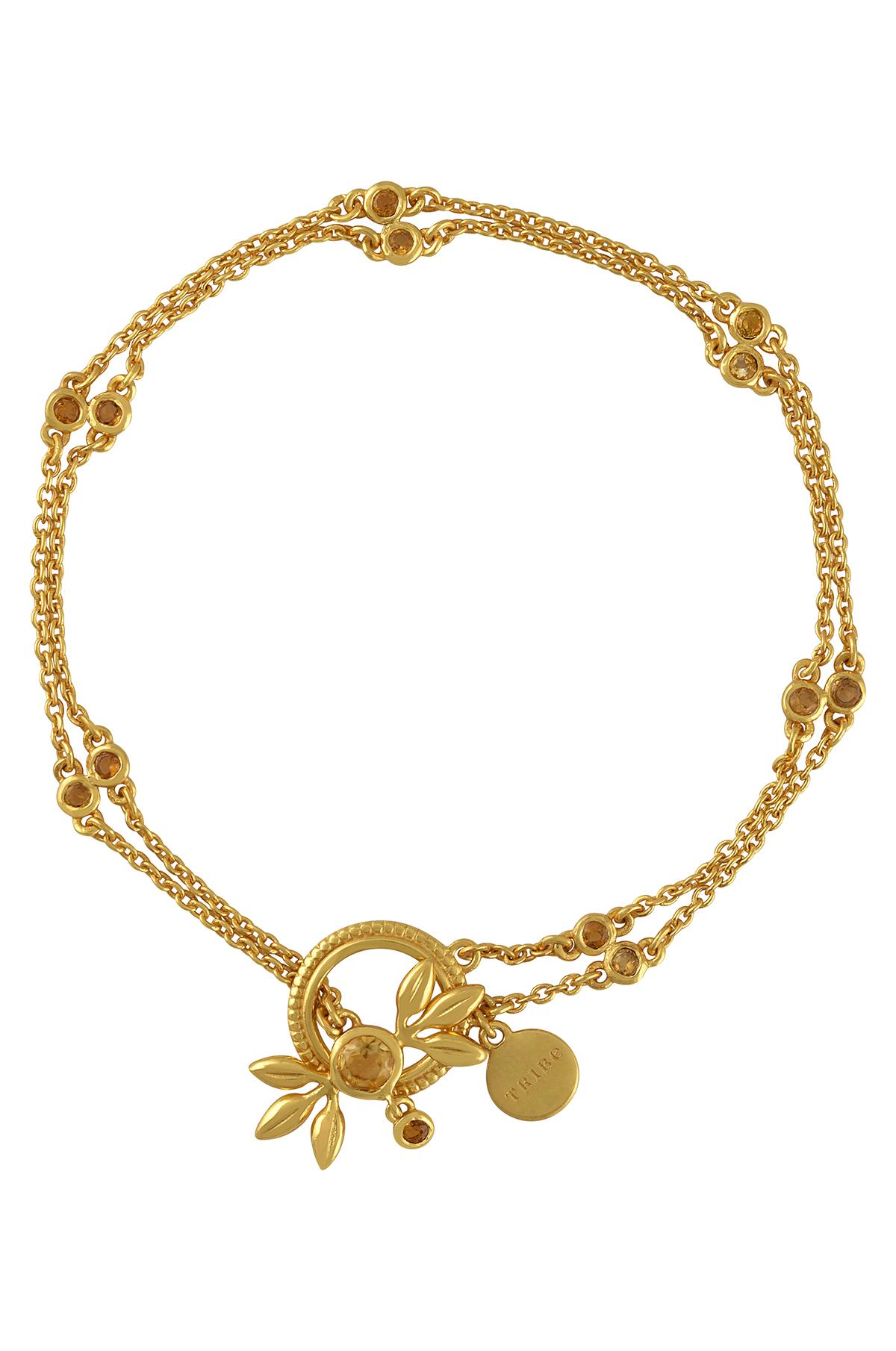 Silver Gold Plated Citrine Flower Chain Bracelet