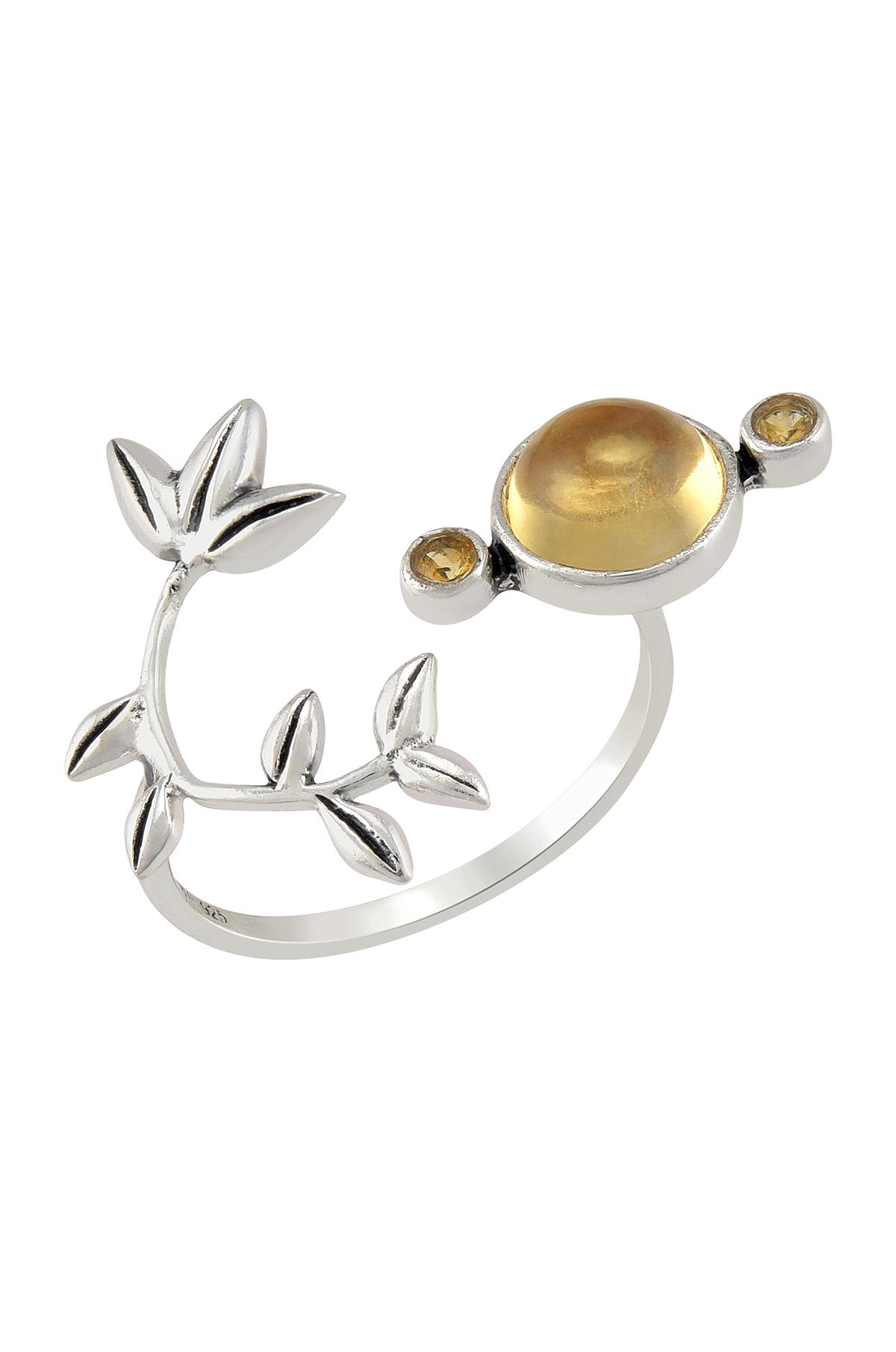 Silver Citrine Flowery Ring
