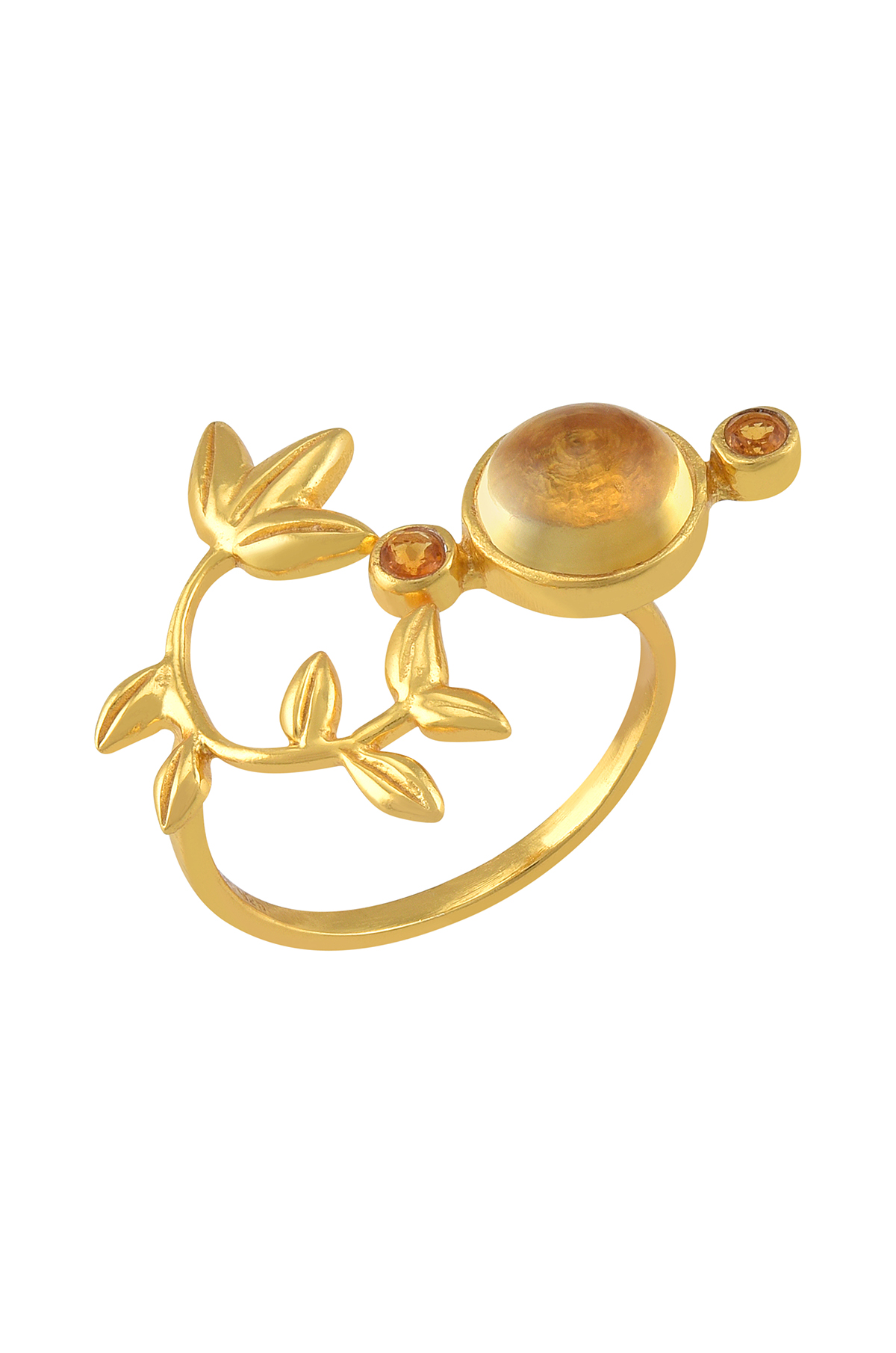 Silver Gold Plated Citrine Flowery Ring